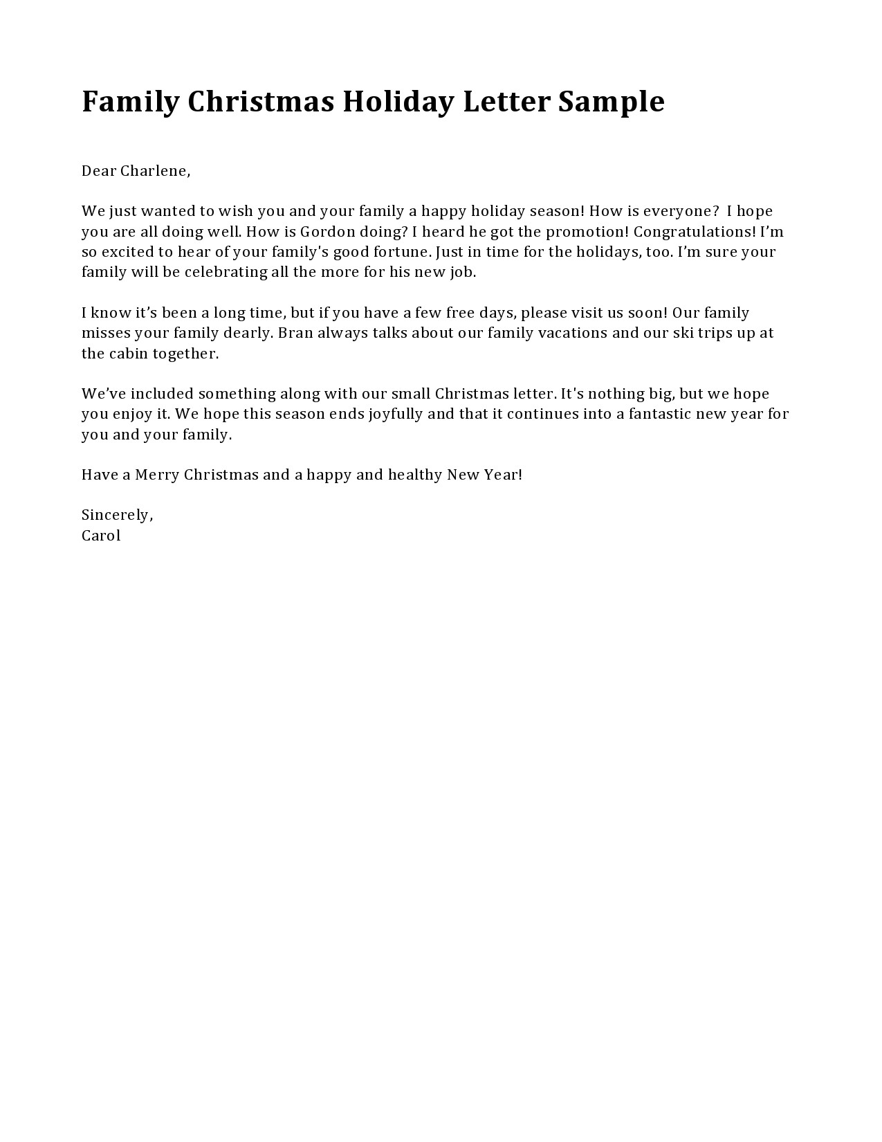 Free christmas letter template 39