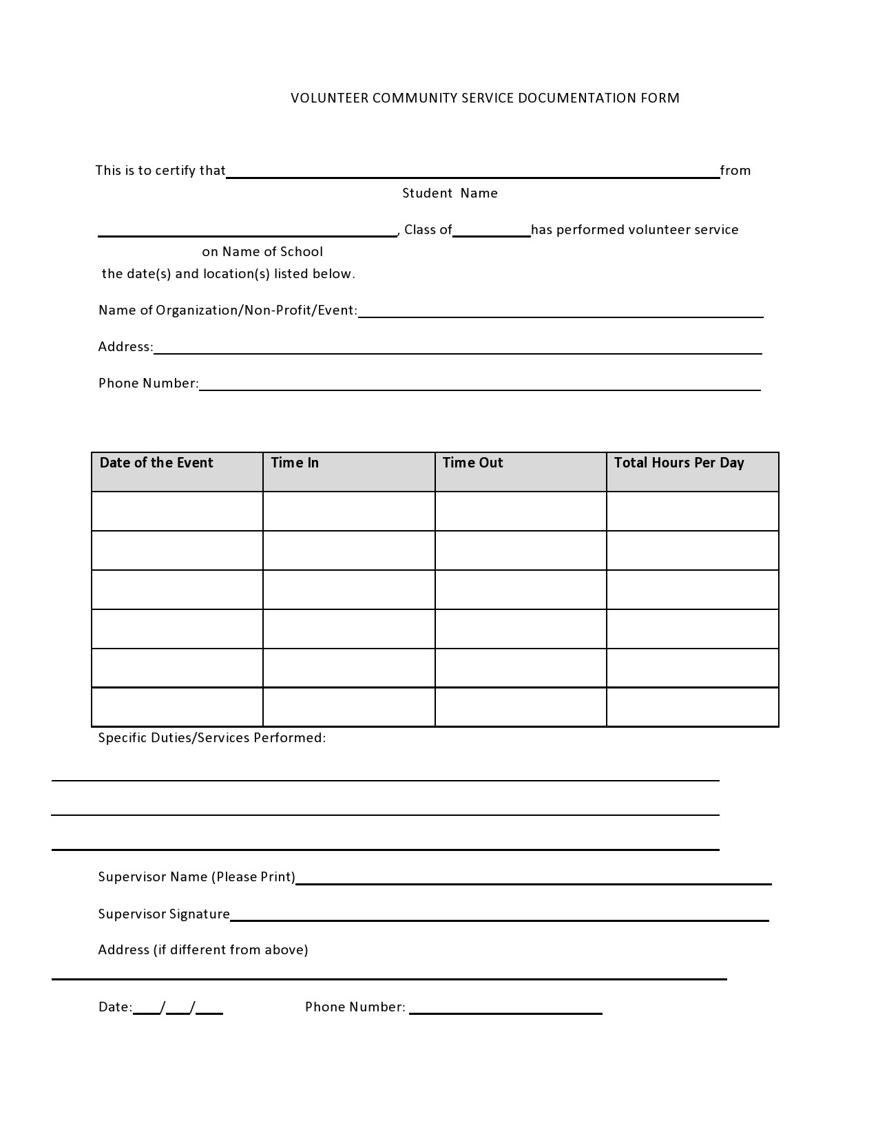 Free community service form 02