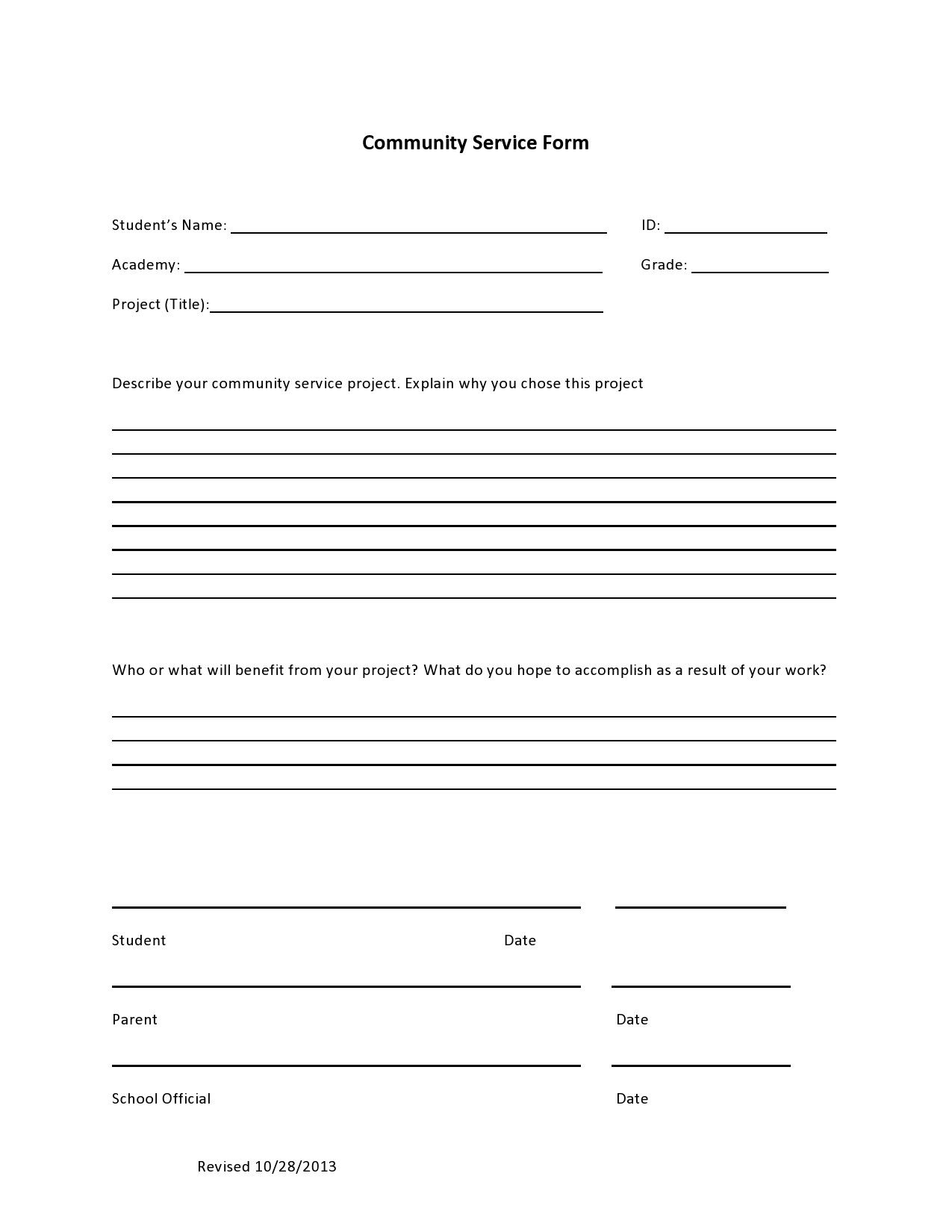 Free community service form 05