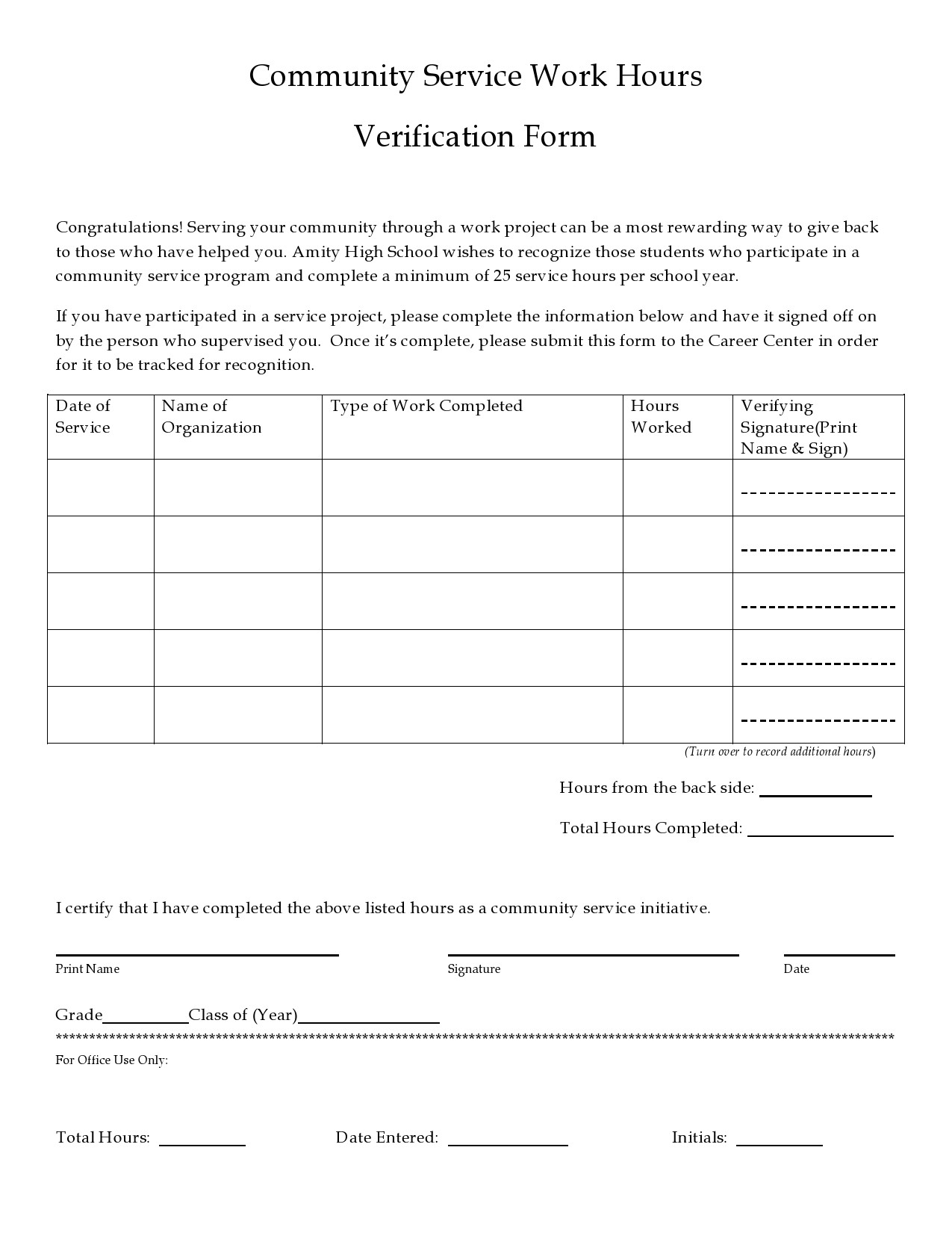 Free community service form 07