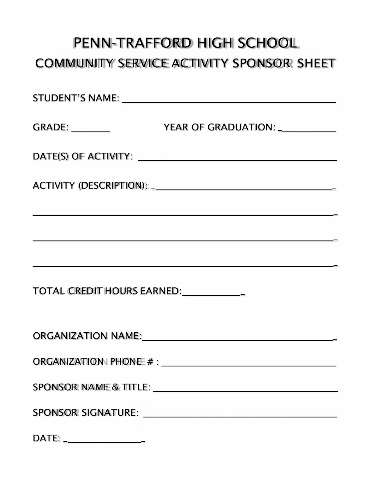 Free community service form 09