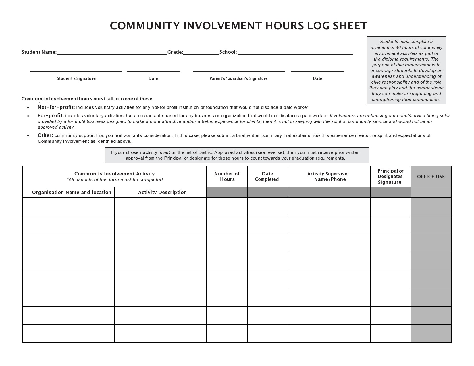 Free community service form 11