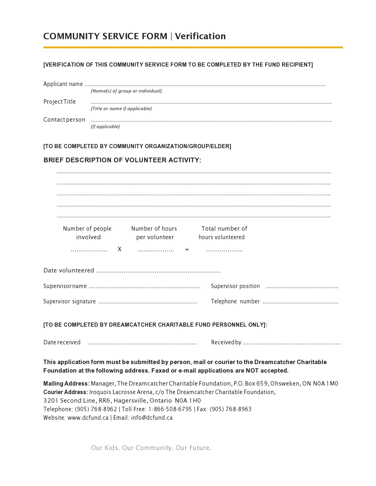 Free community service form 12