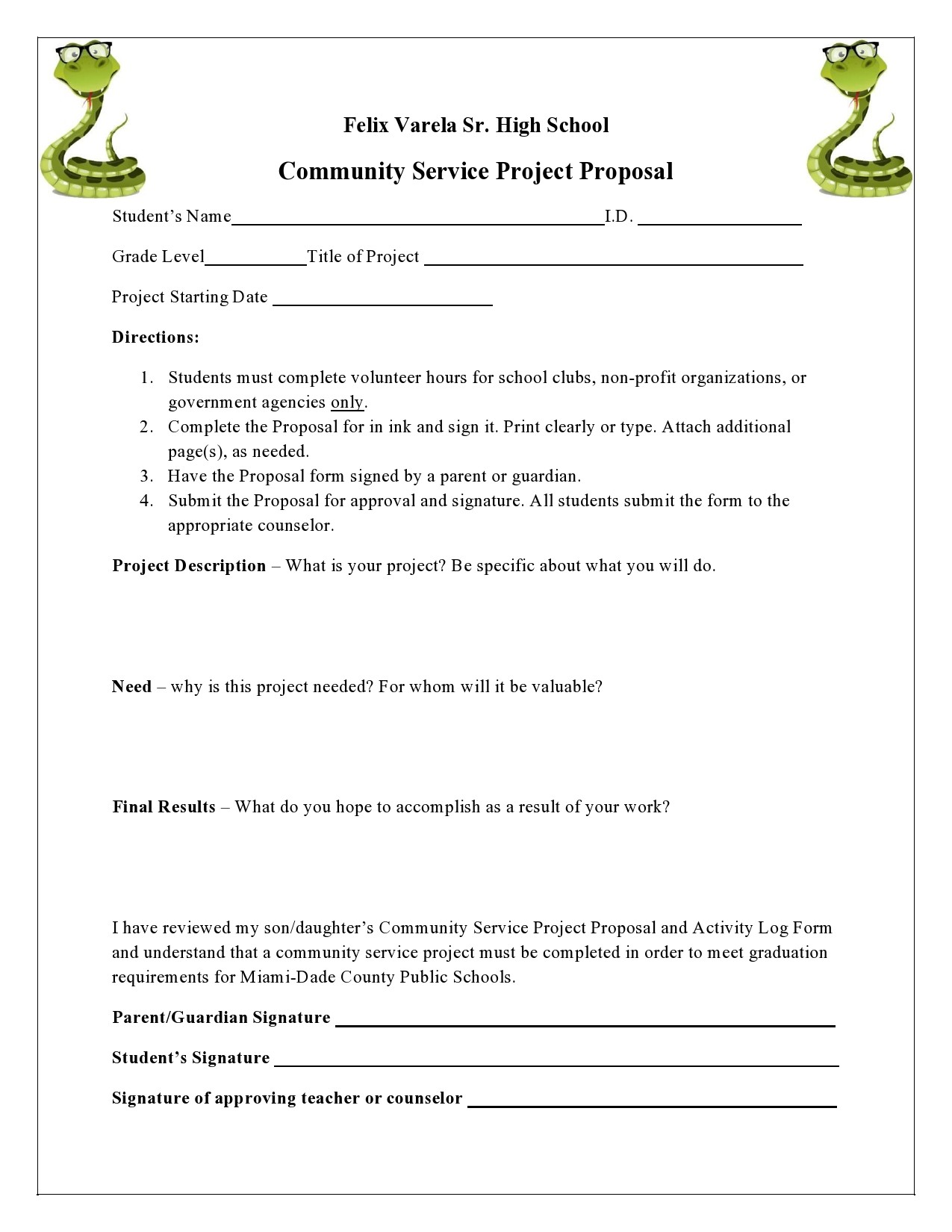 Free community service form 13