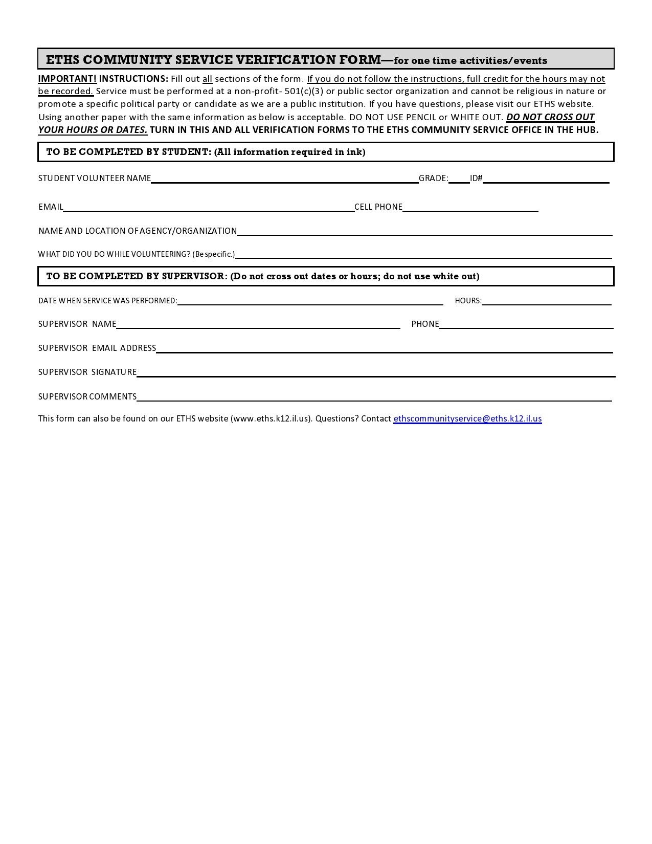 Free community service form 14