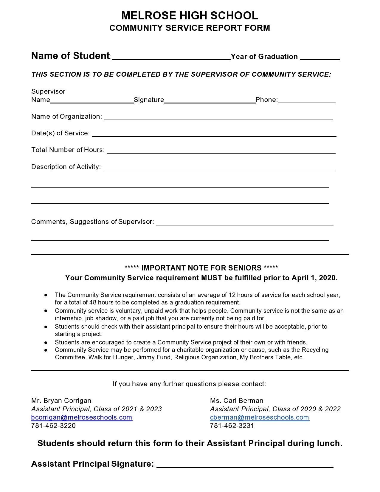 Free community service form 16