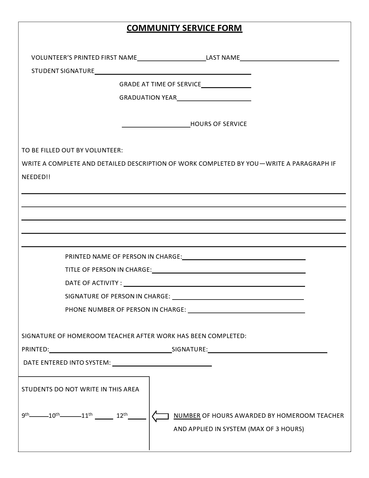 Free community service form 19