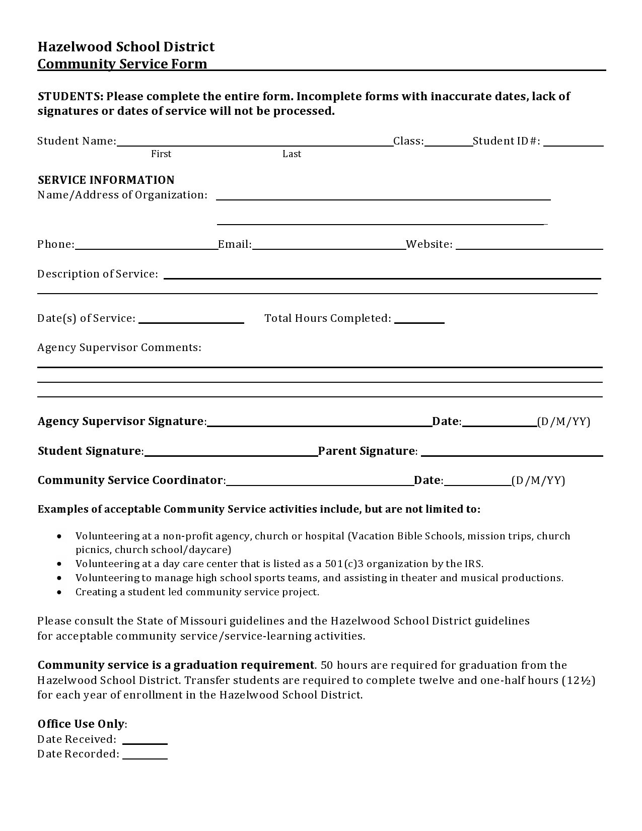 Free community service form 21