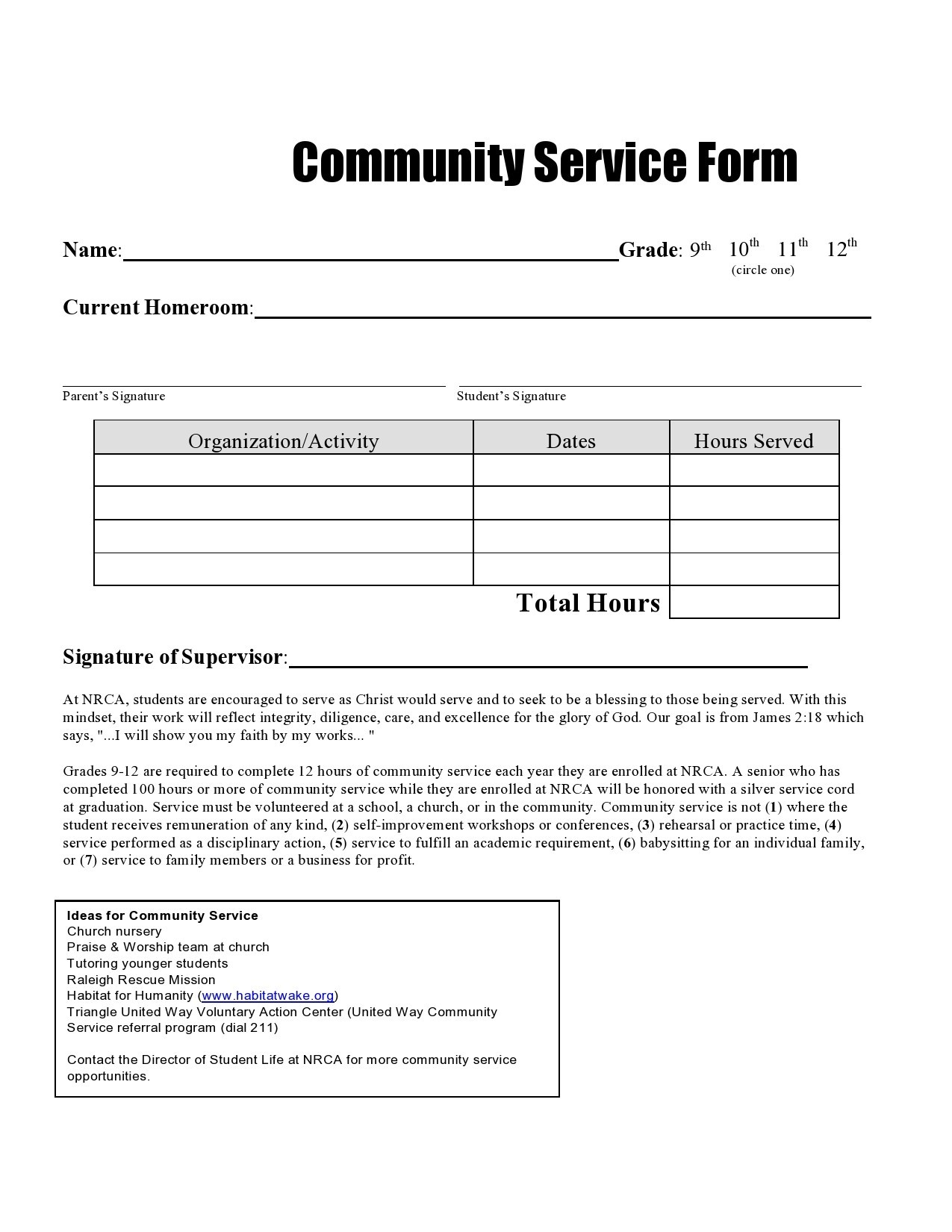 Free community service form 22