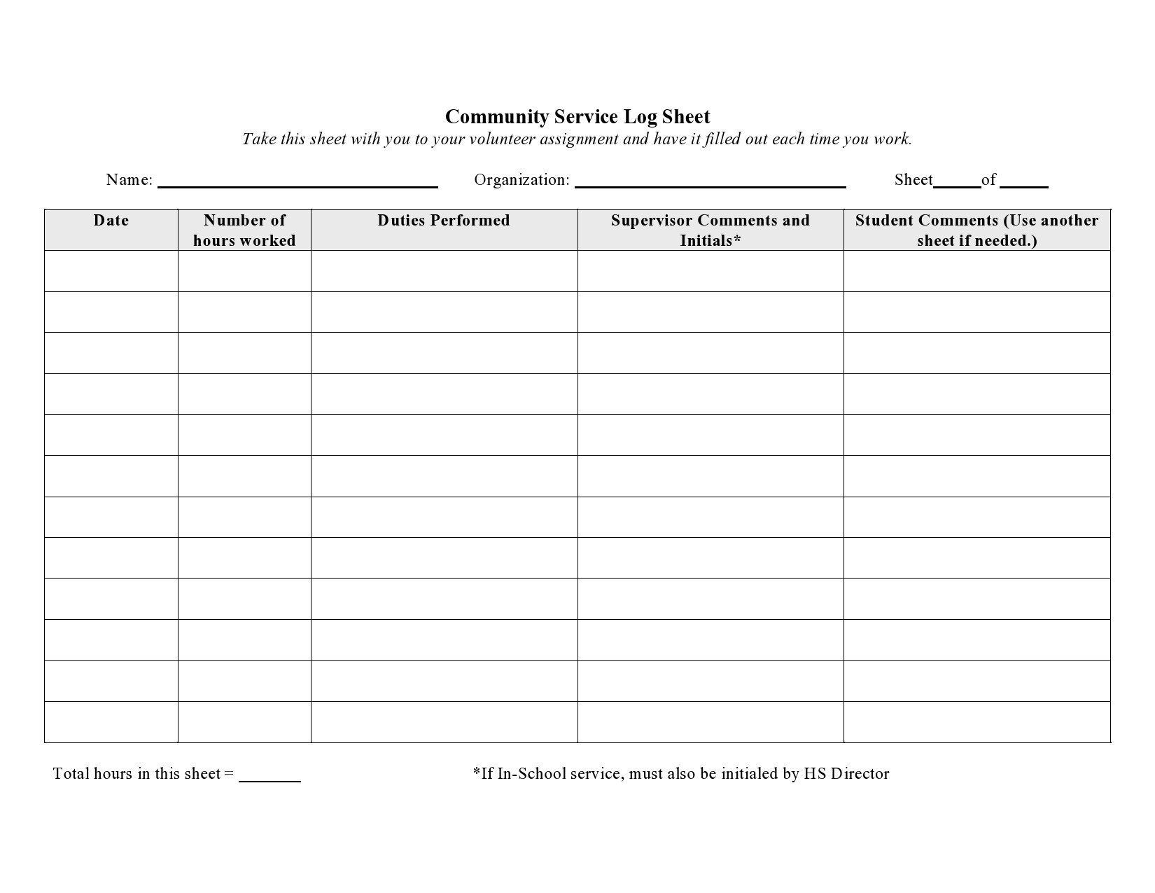 Free community service form 25