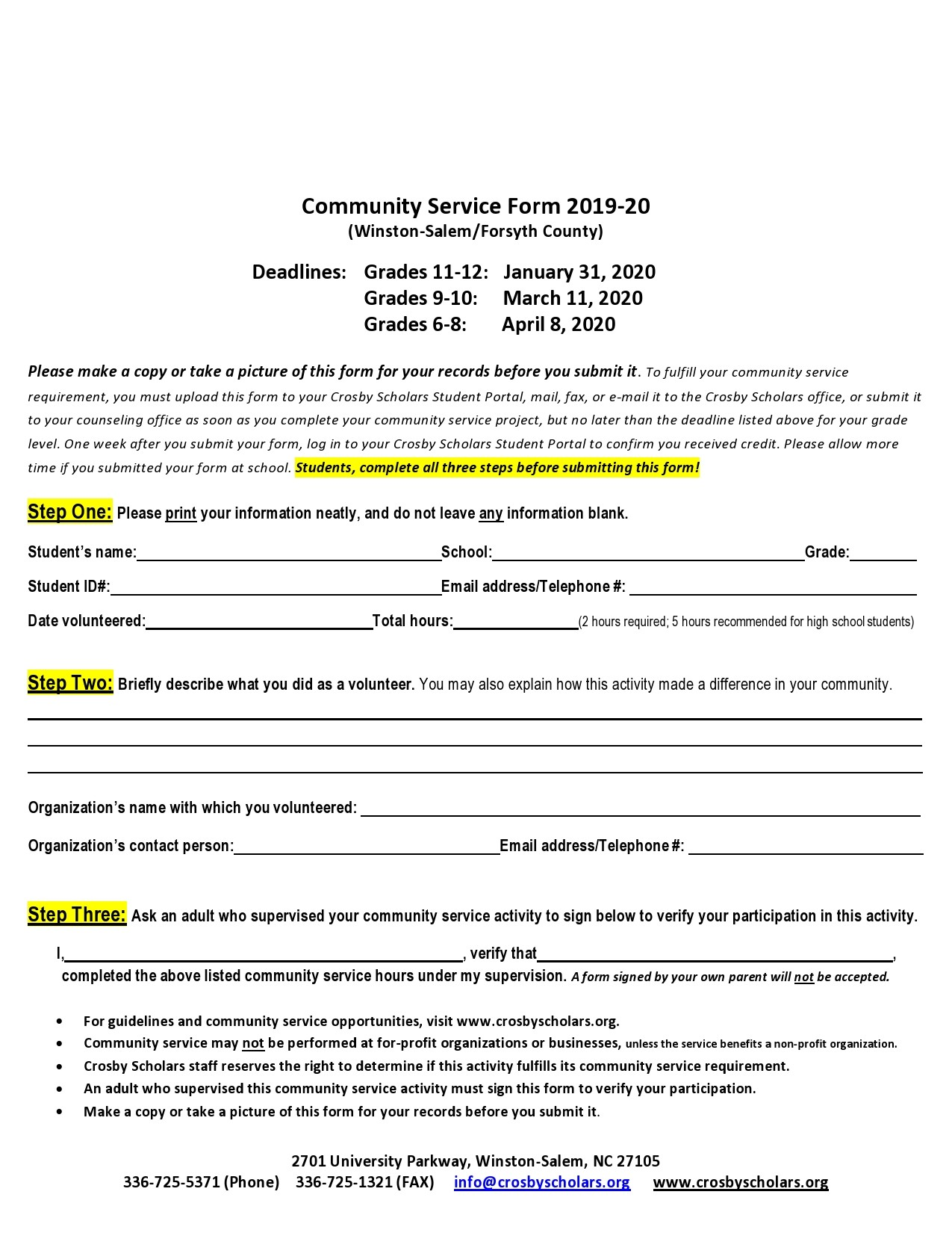 Free community service form 27
