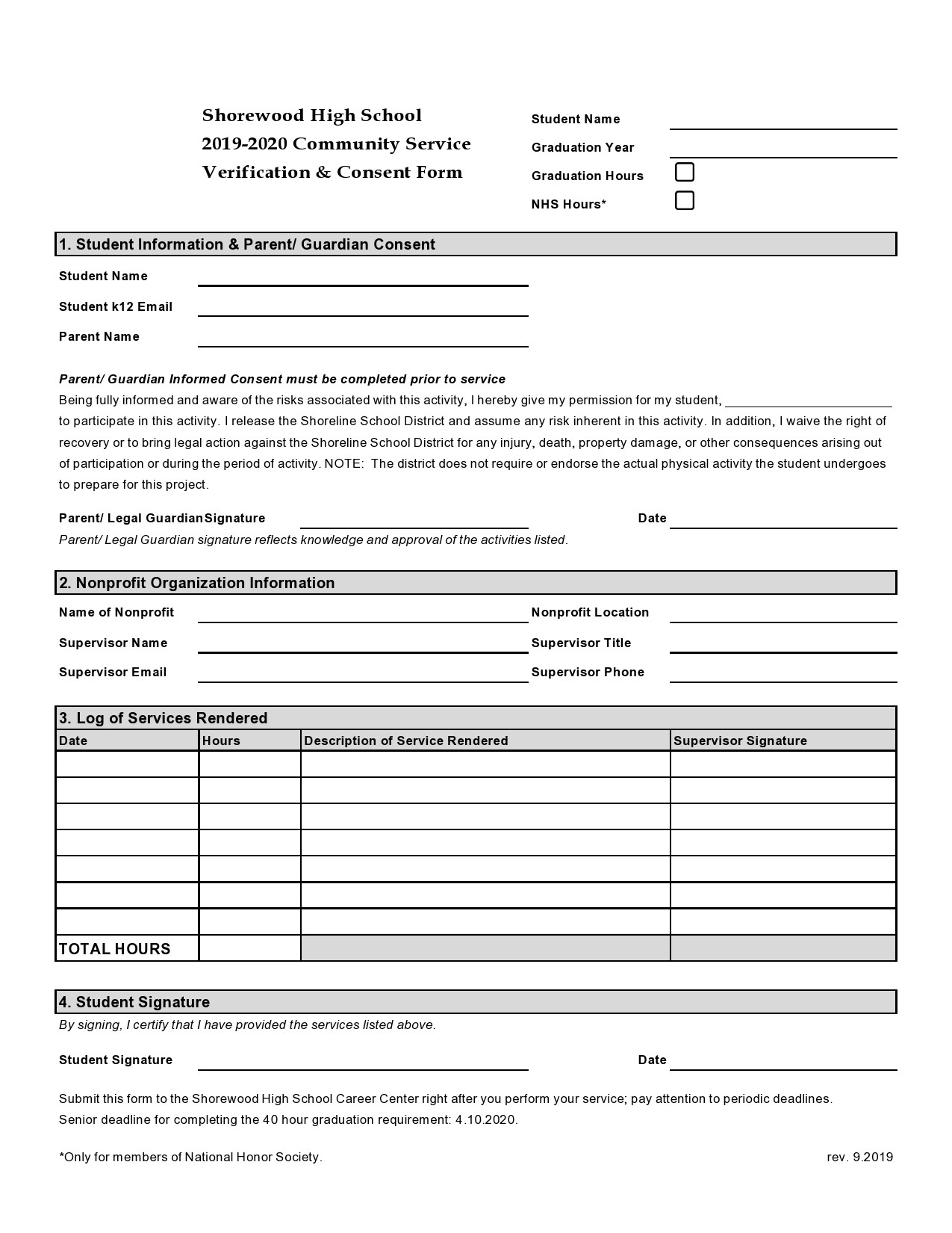 Free community service form 28