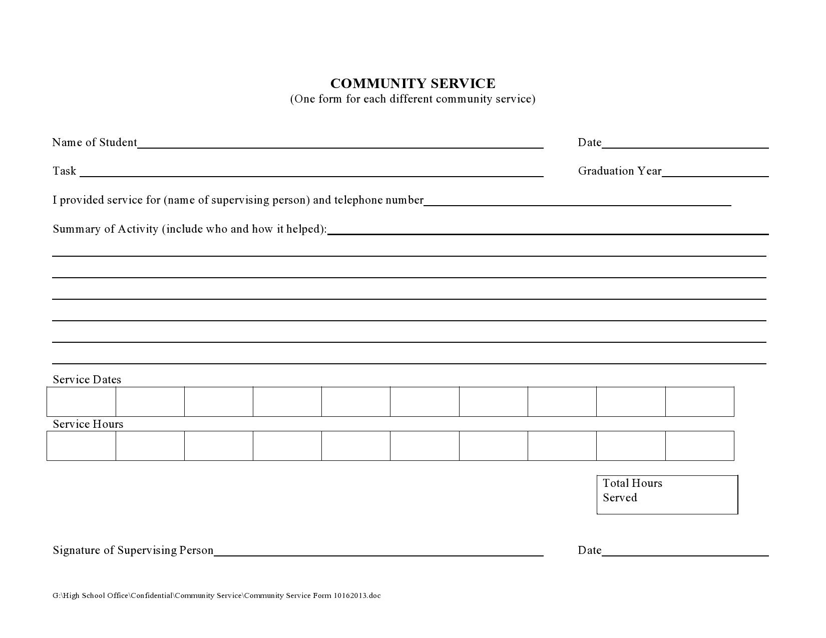 Free community service form 29