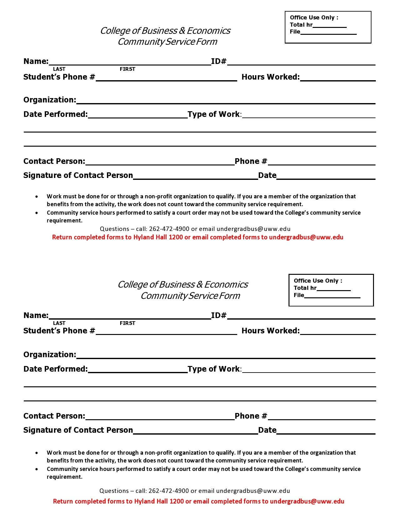 Free community service form 30