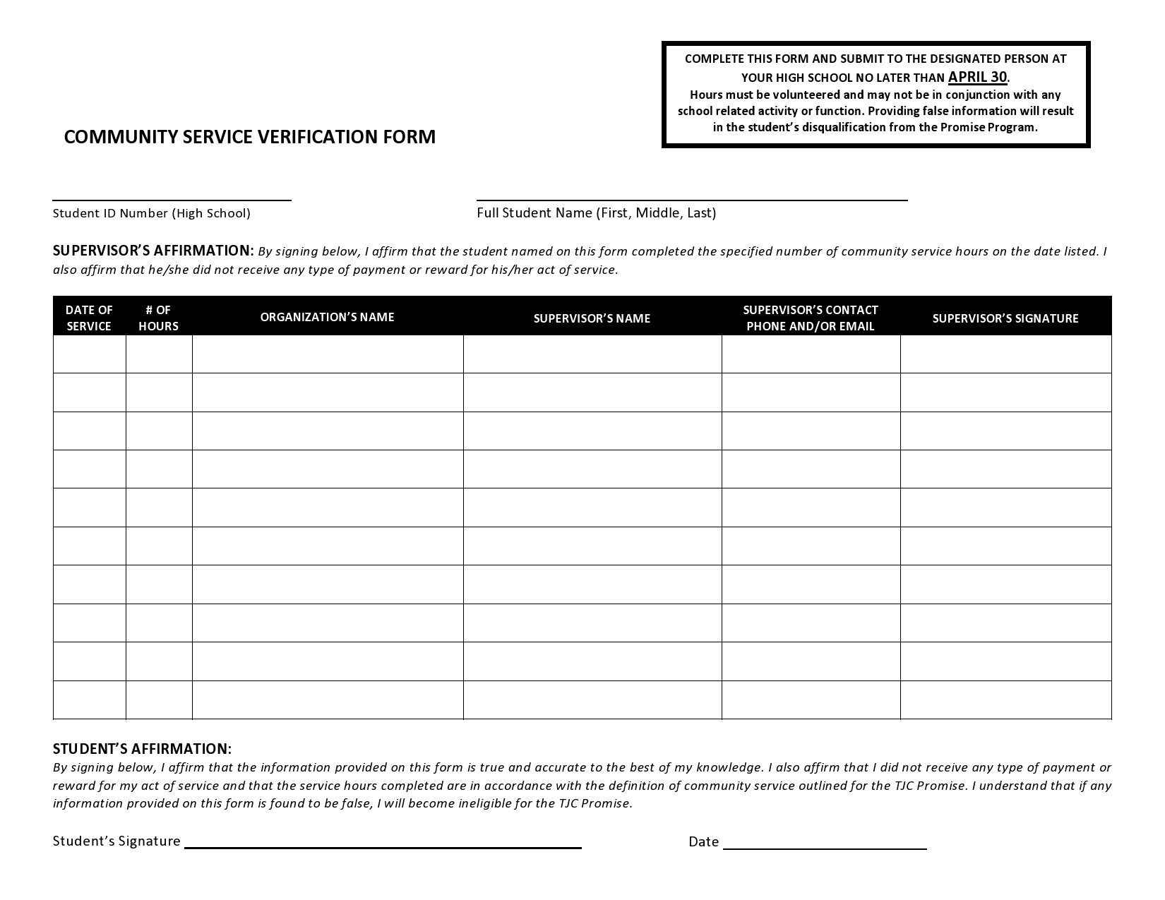 Free community service form 31