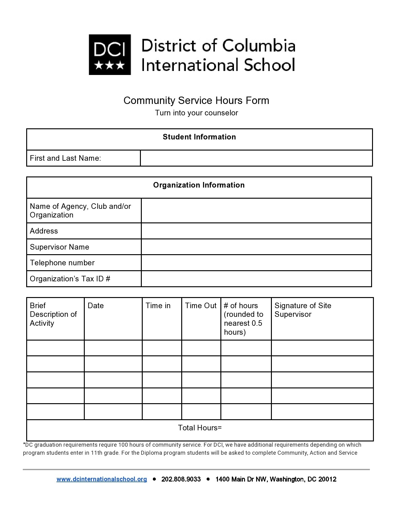 Free community service form 32