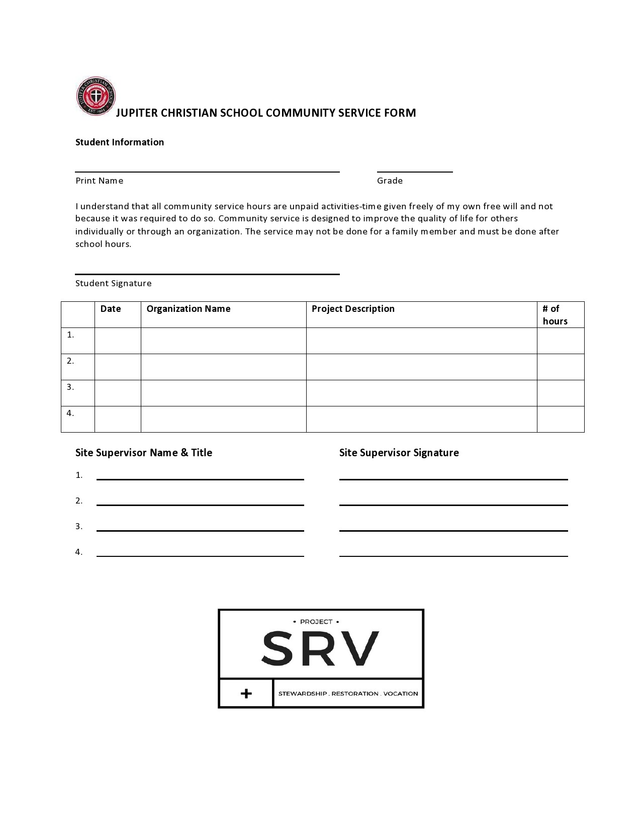 Free community service form 34