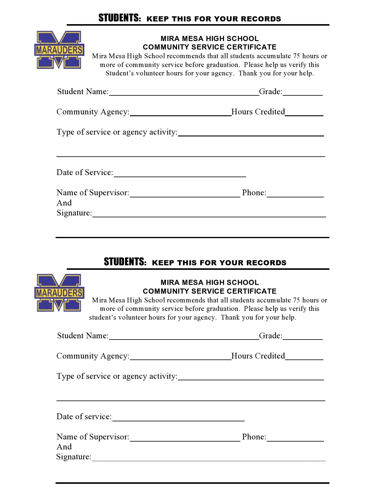 Free community service form 37