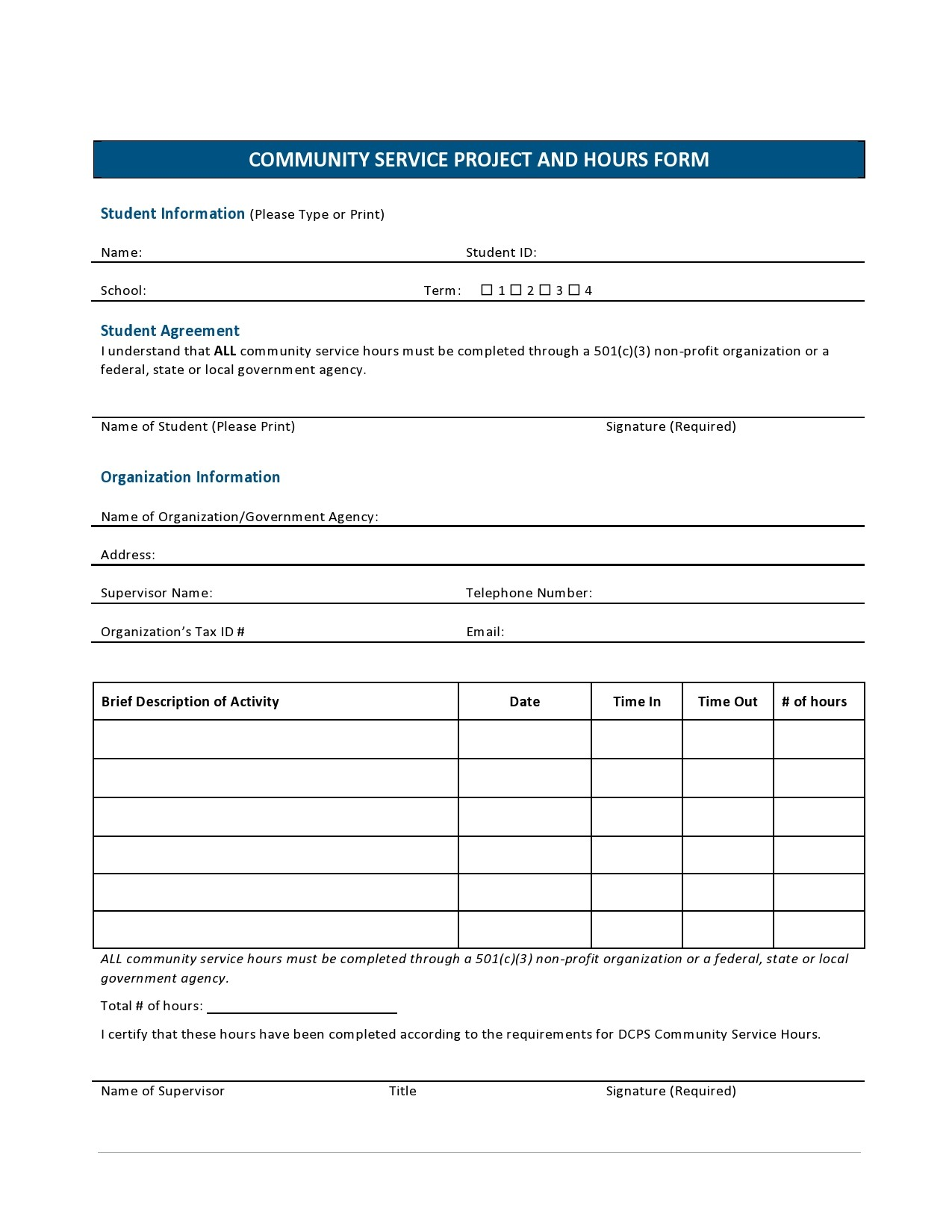 Free community service form 38