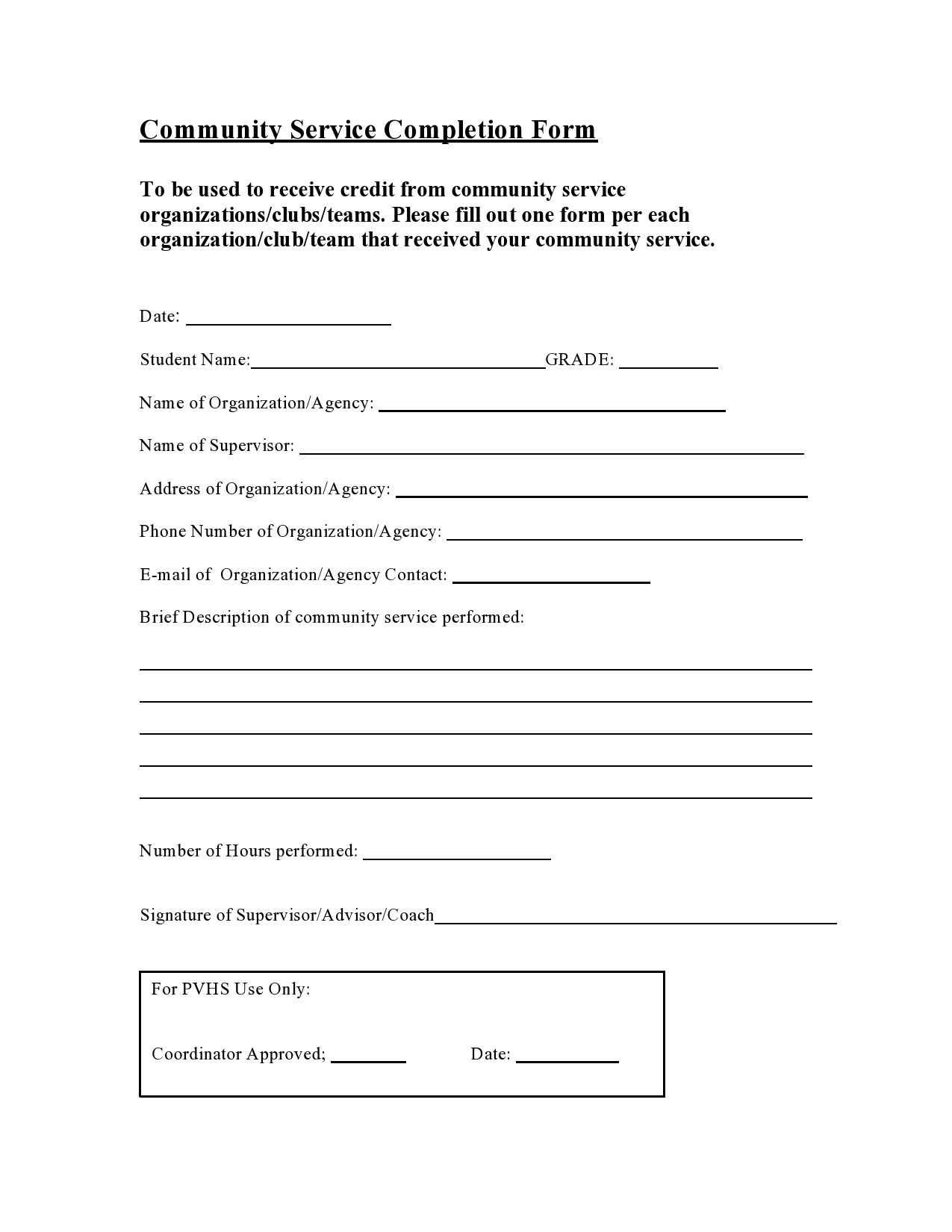 Free community service form 39
