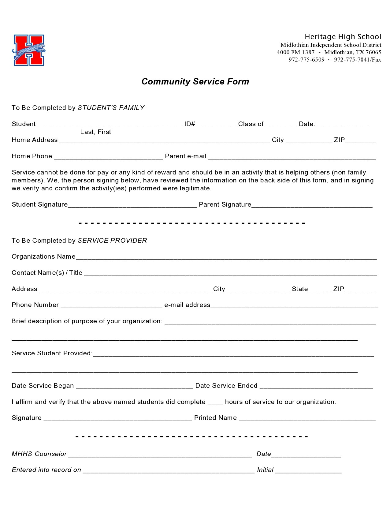 Free community service form 40