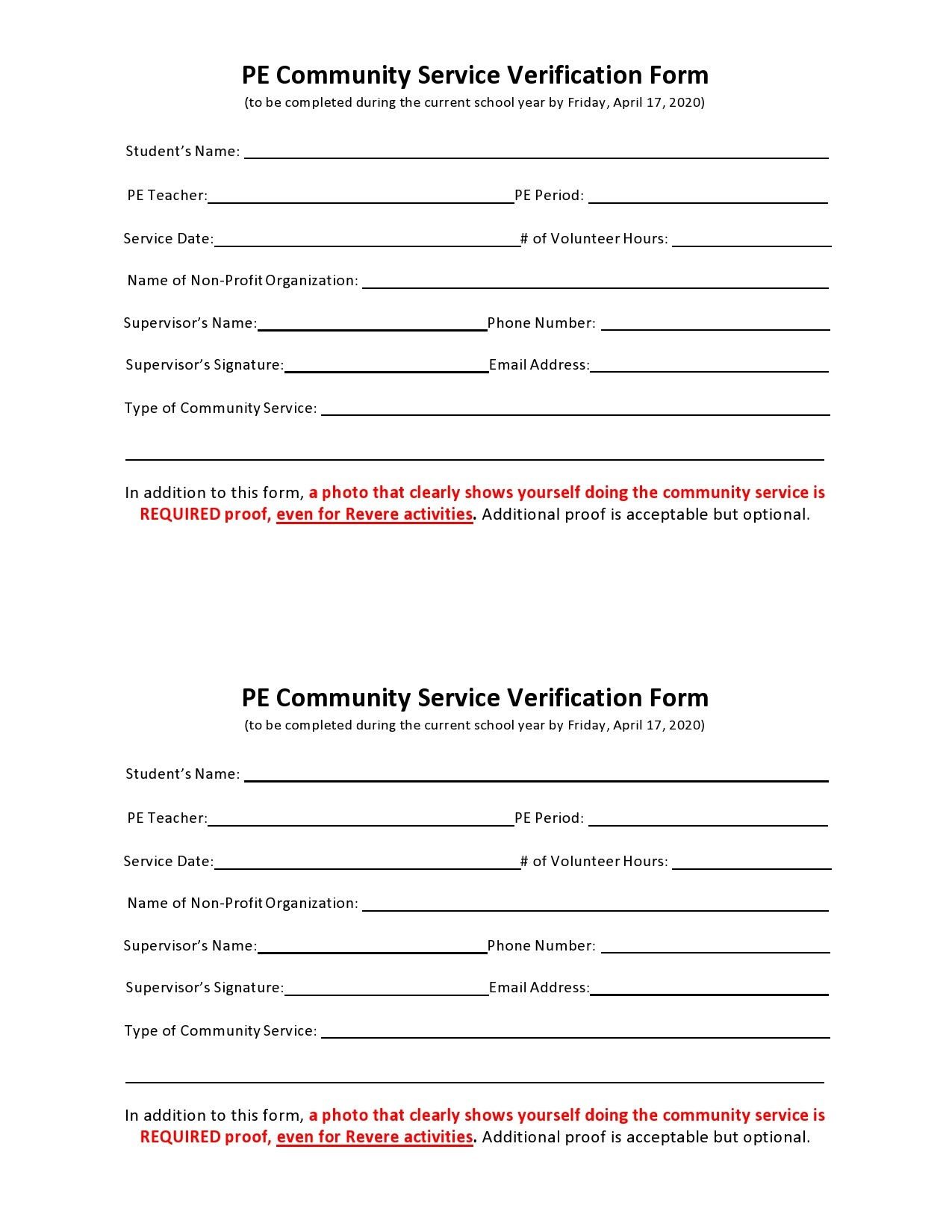 Free community service form 41