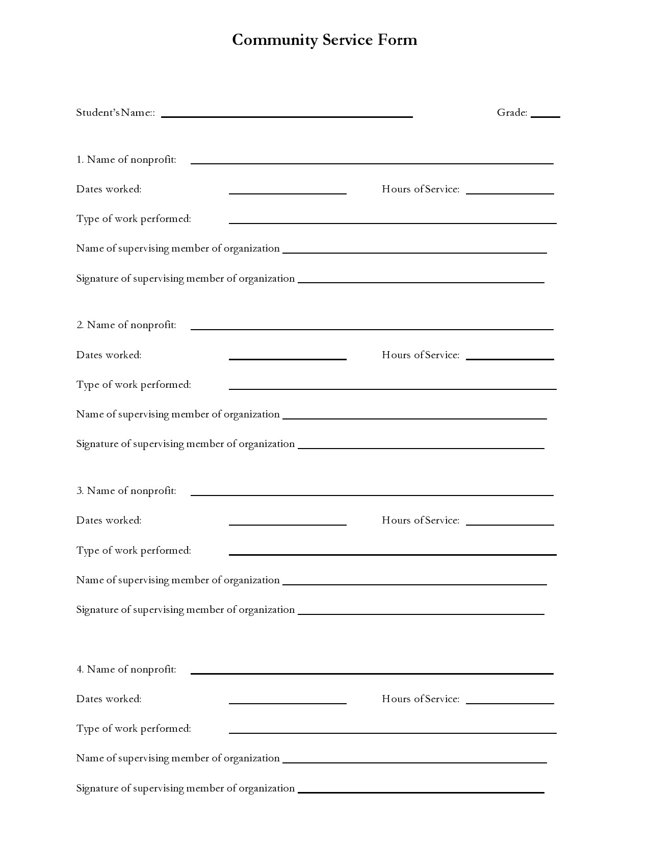 Free community service form 42