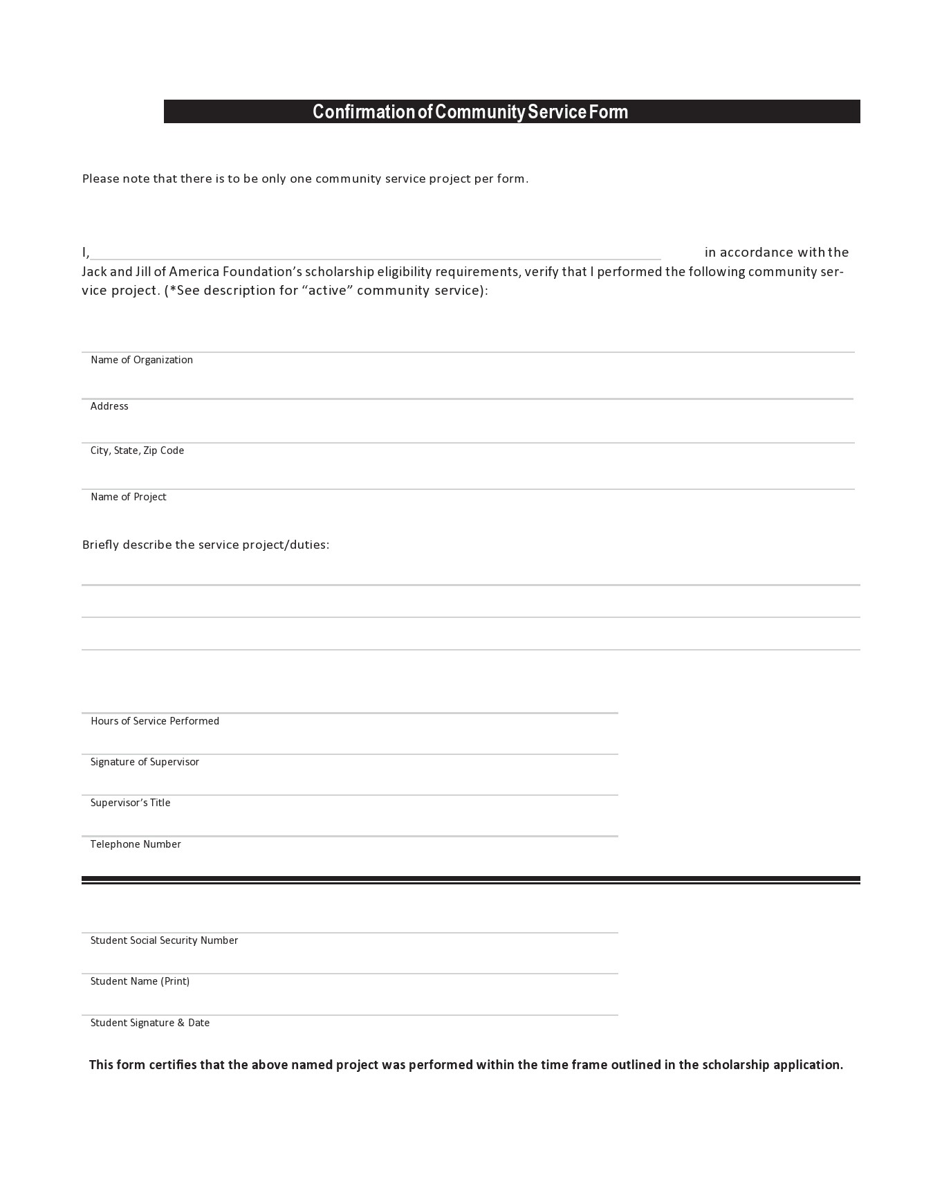 Free community service form 44