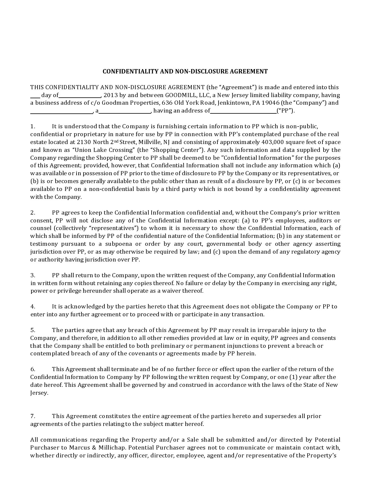 Free confidentiality statement 07