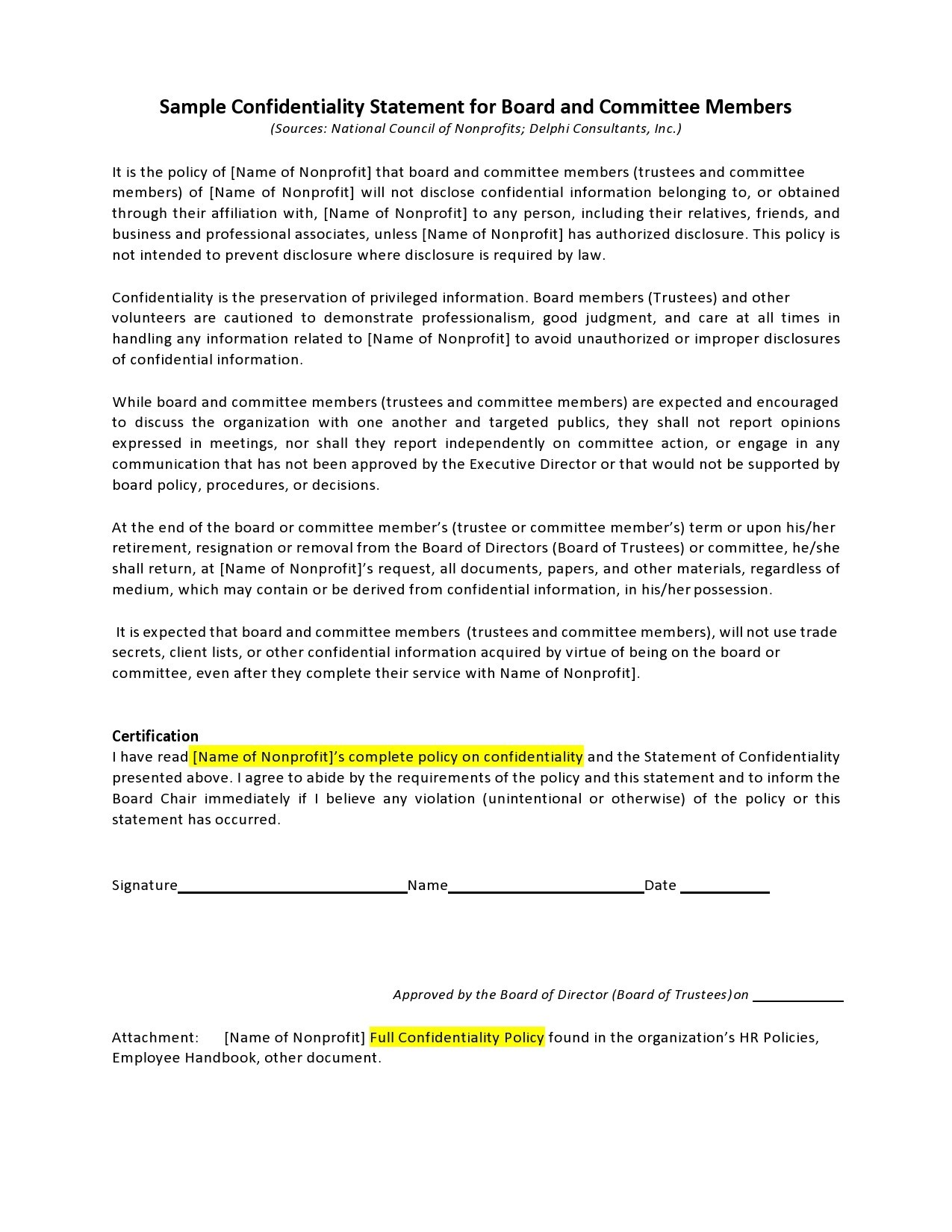 Free confidentiality statement 10