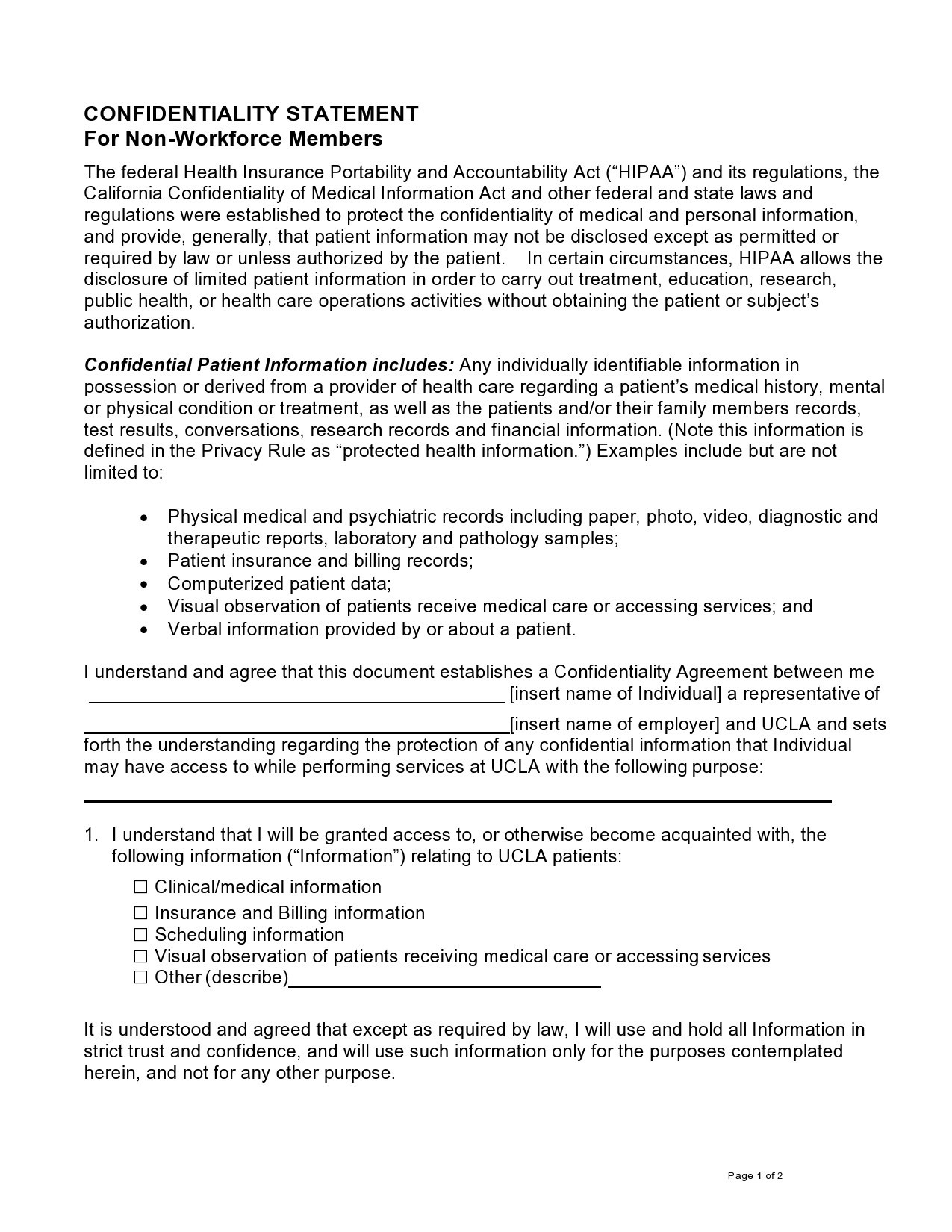 Free confidentiality statement 11