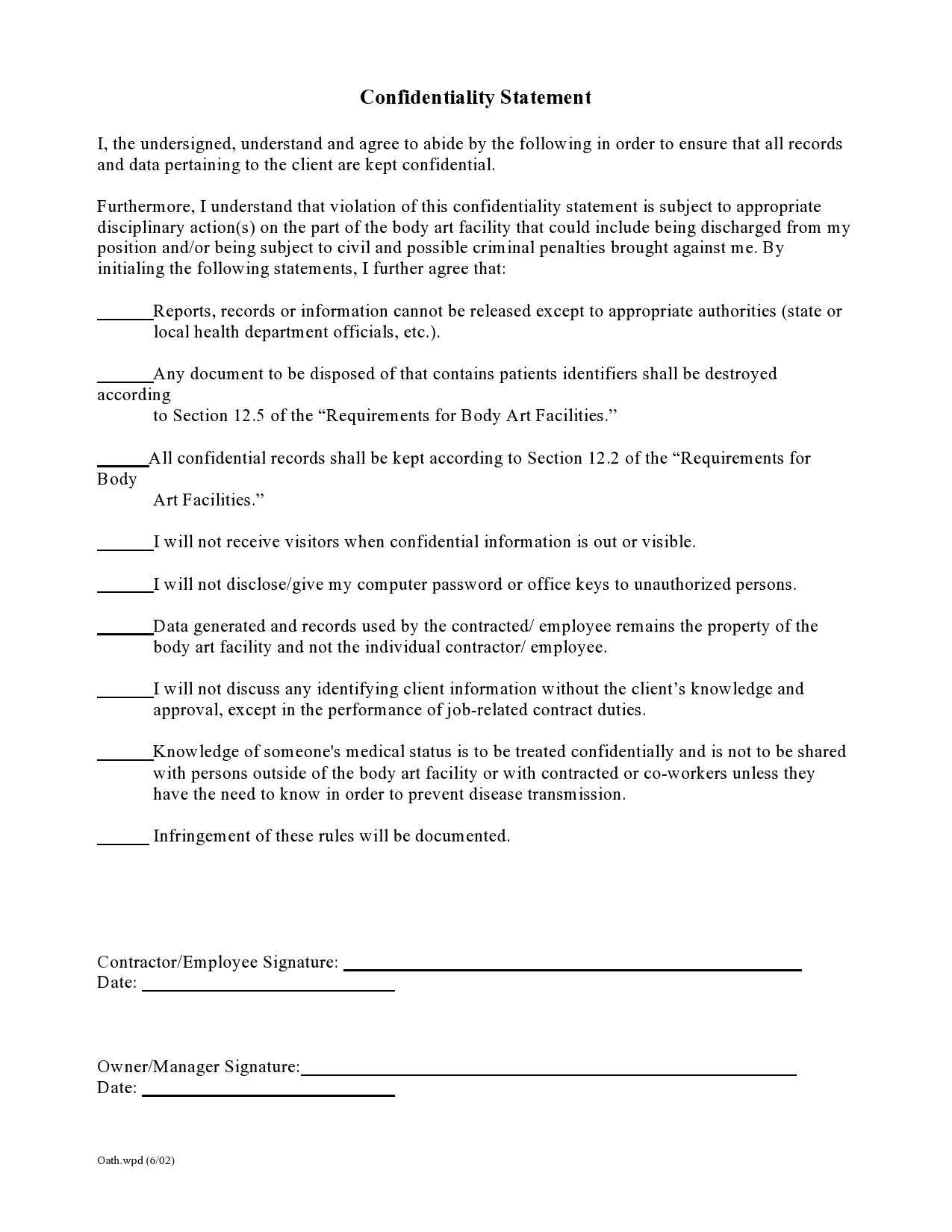 Free confidentiality statement 15