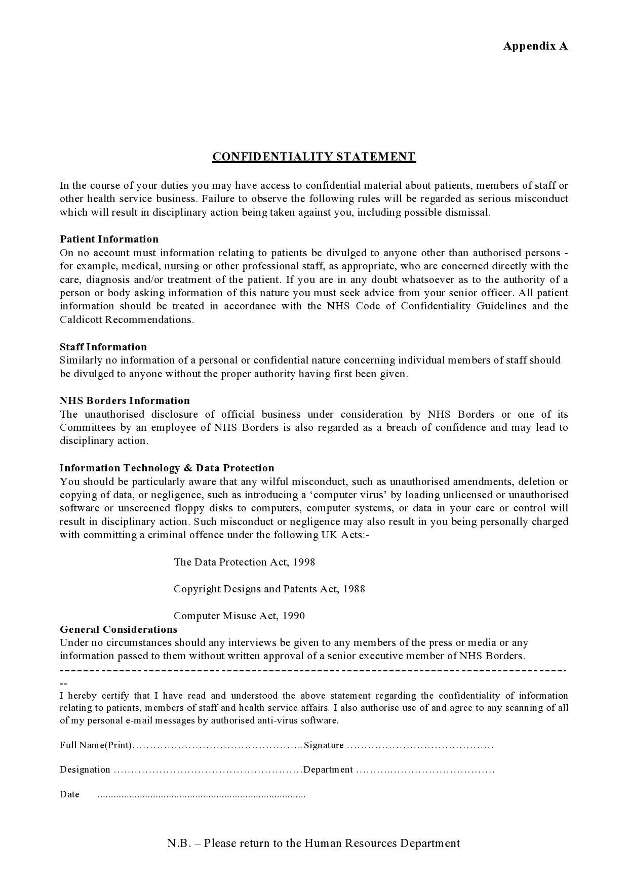 Free confidentiality statement 16