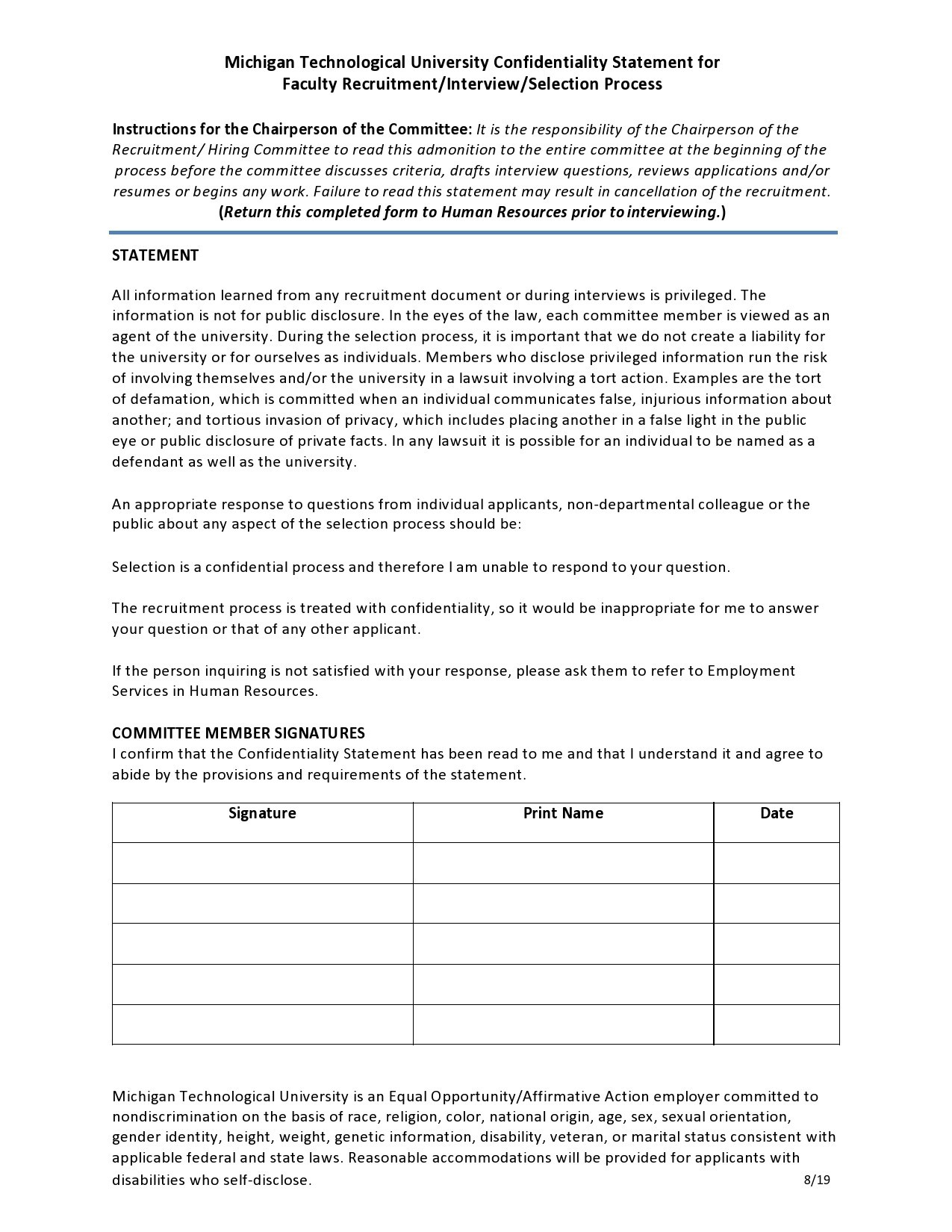 Free confidentiality statement 17