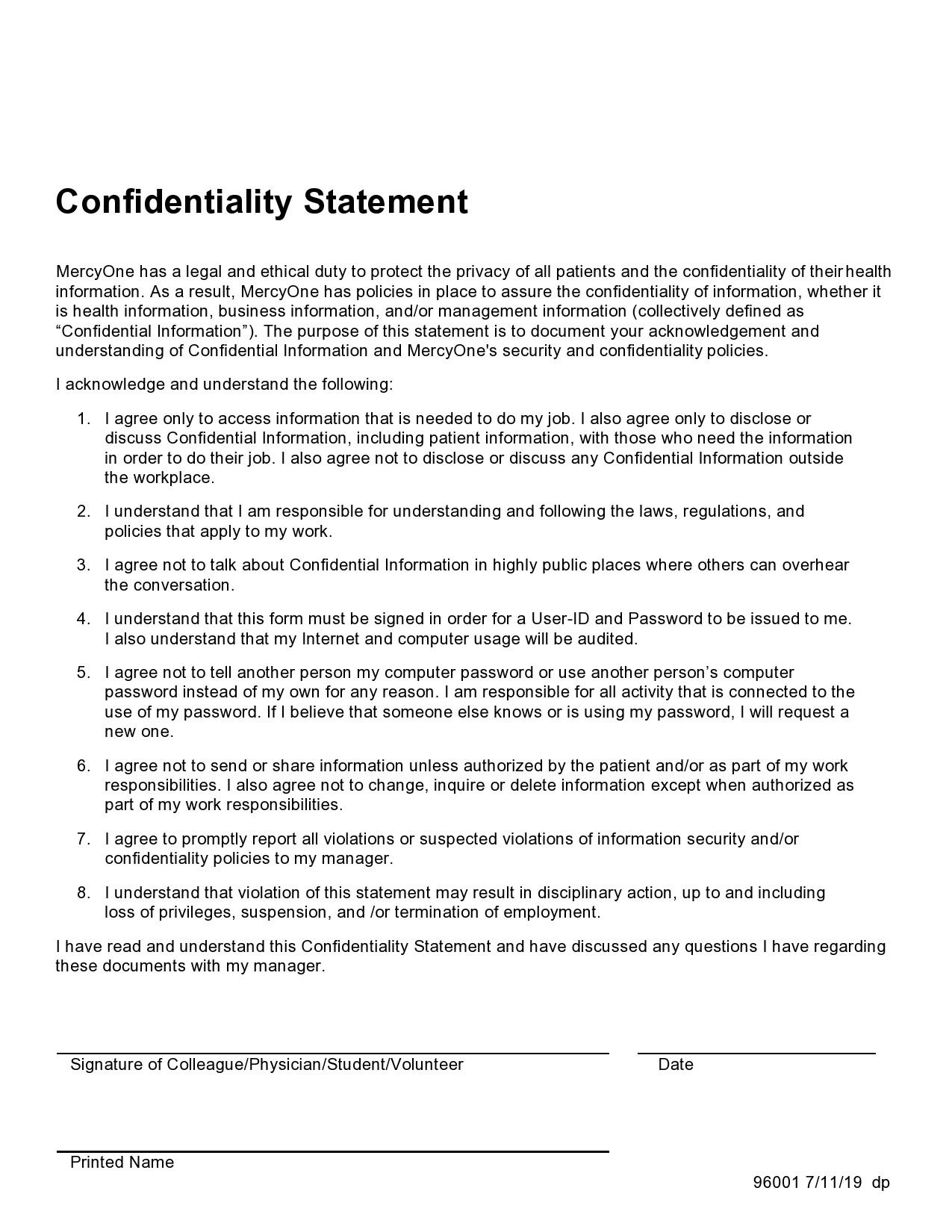 Free confidentiality statement 21