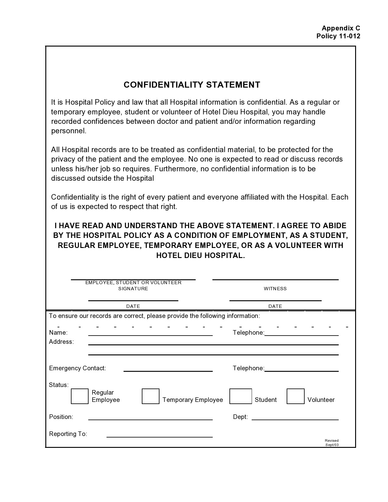 Free confidentiality statement 25