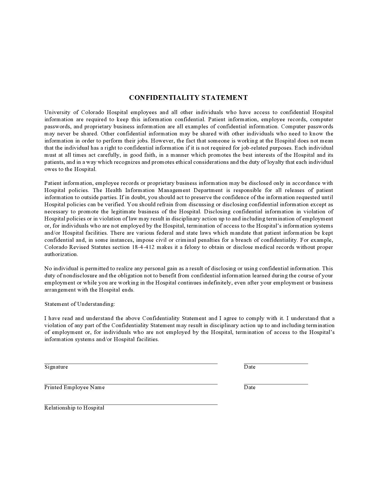 Free confidentiality statement 26