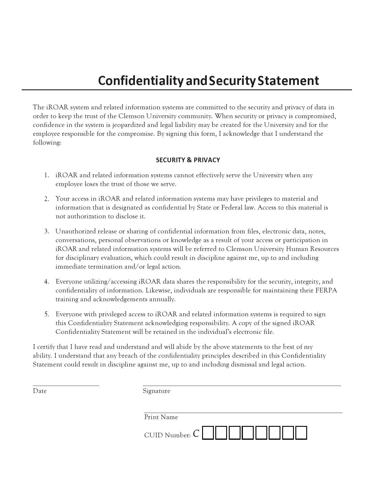 Free confidentiality statement 28