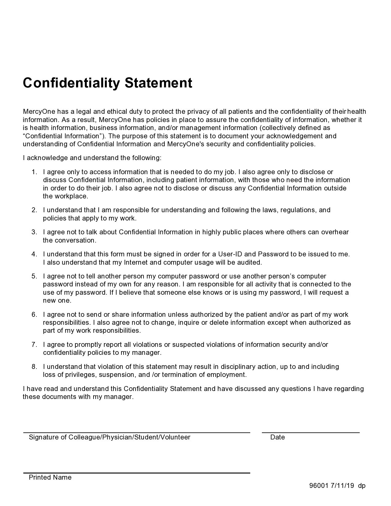 Free confidentiality statement 29