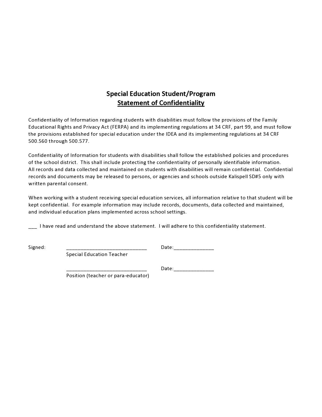 Free confidentiality statement 36