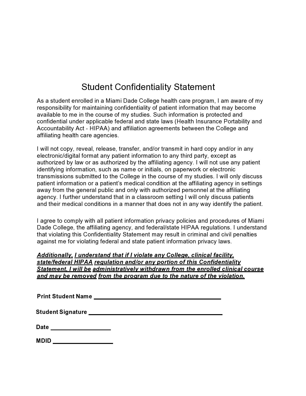 Free confidentiality statement 38