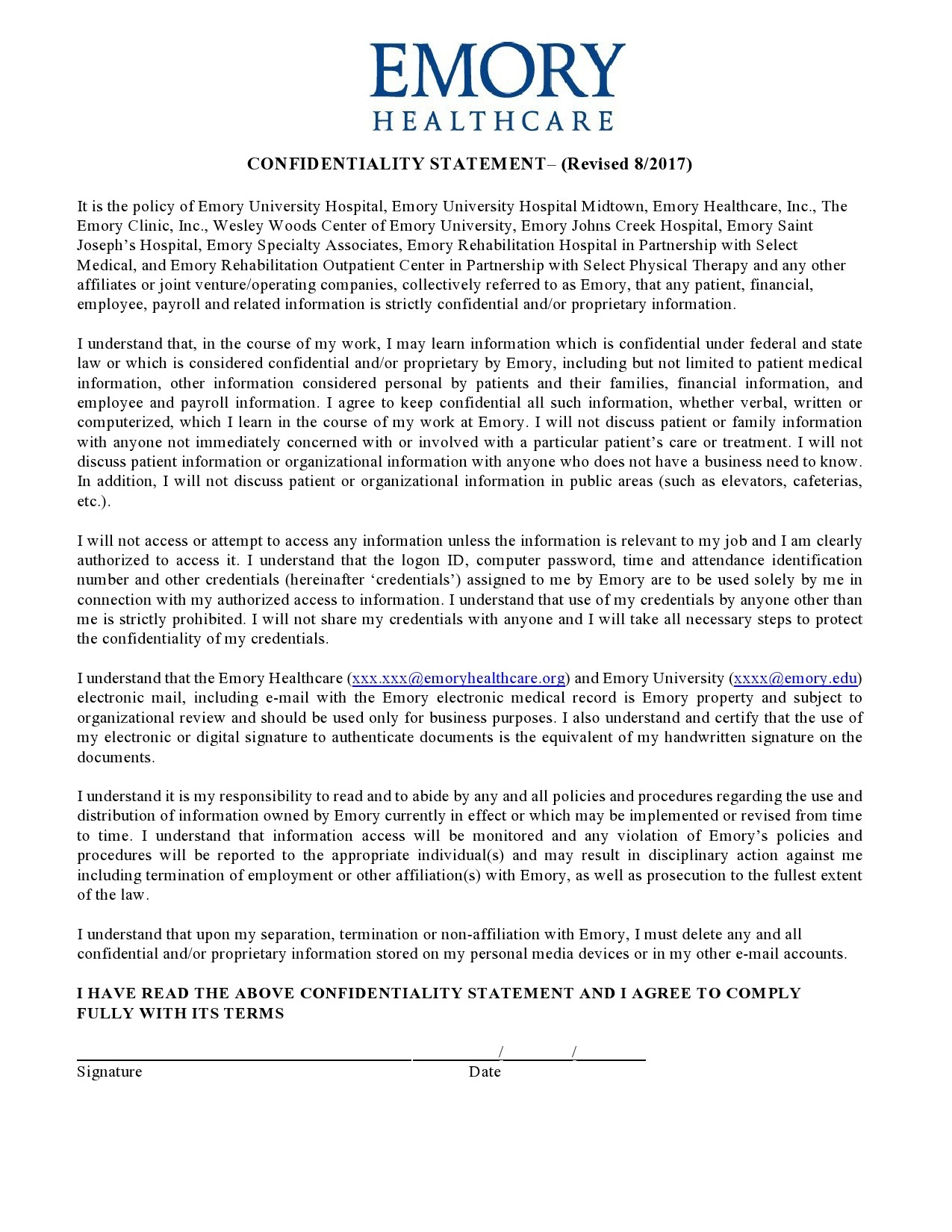 Free confidentiality statement 42