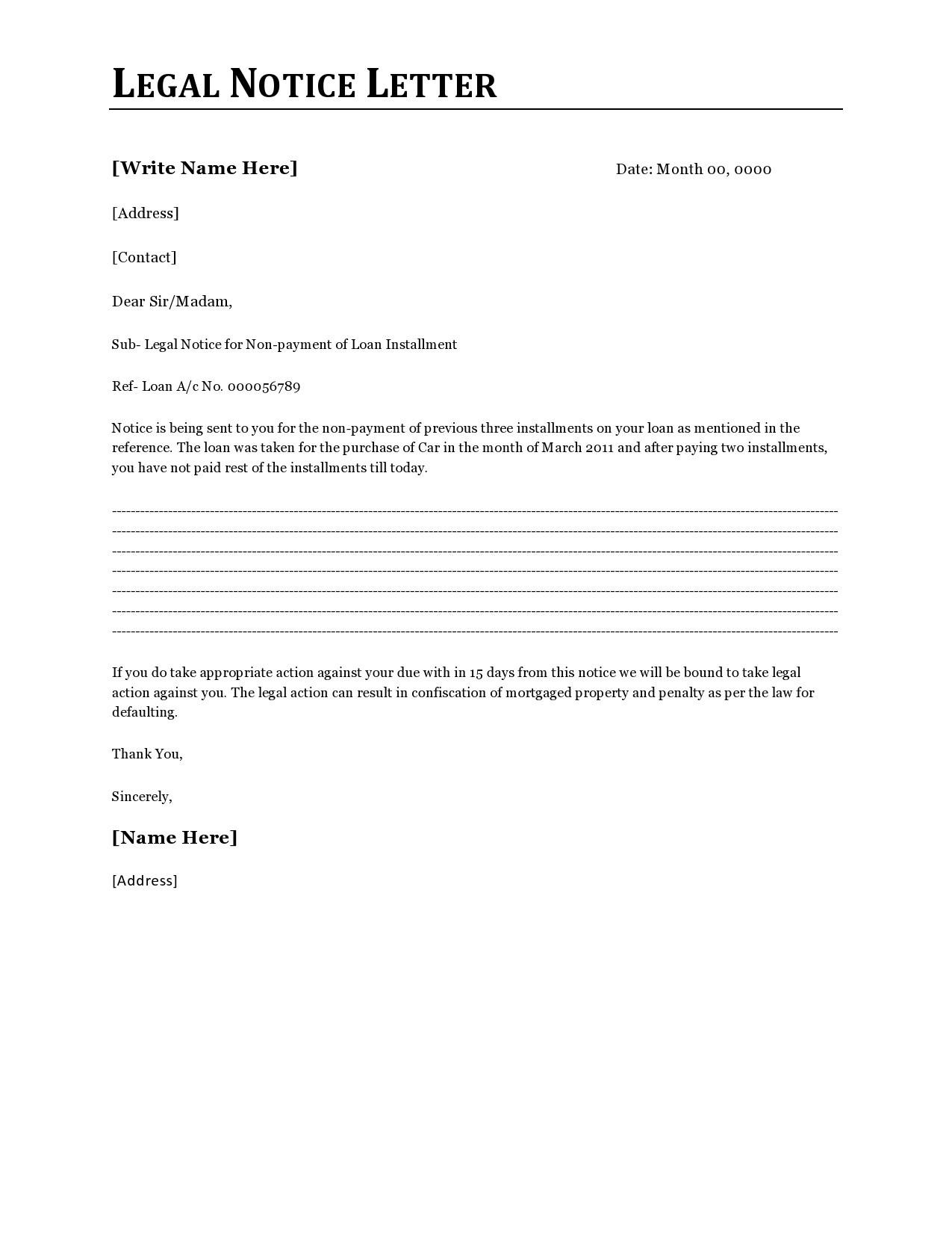 Free legal letter format 02
