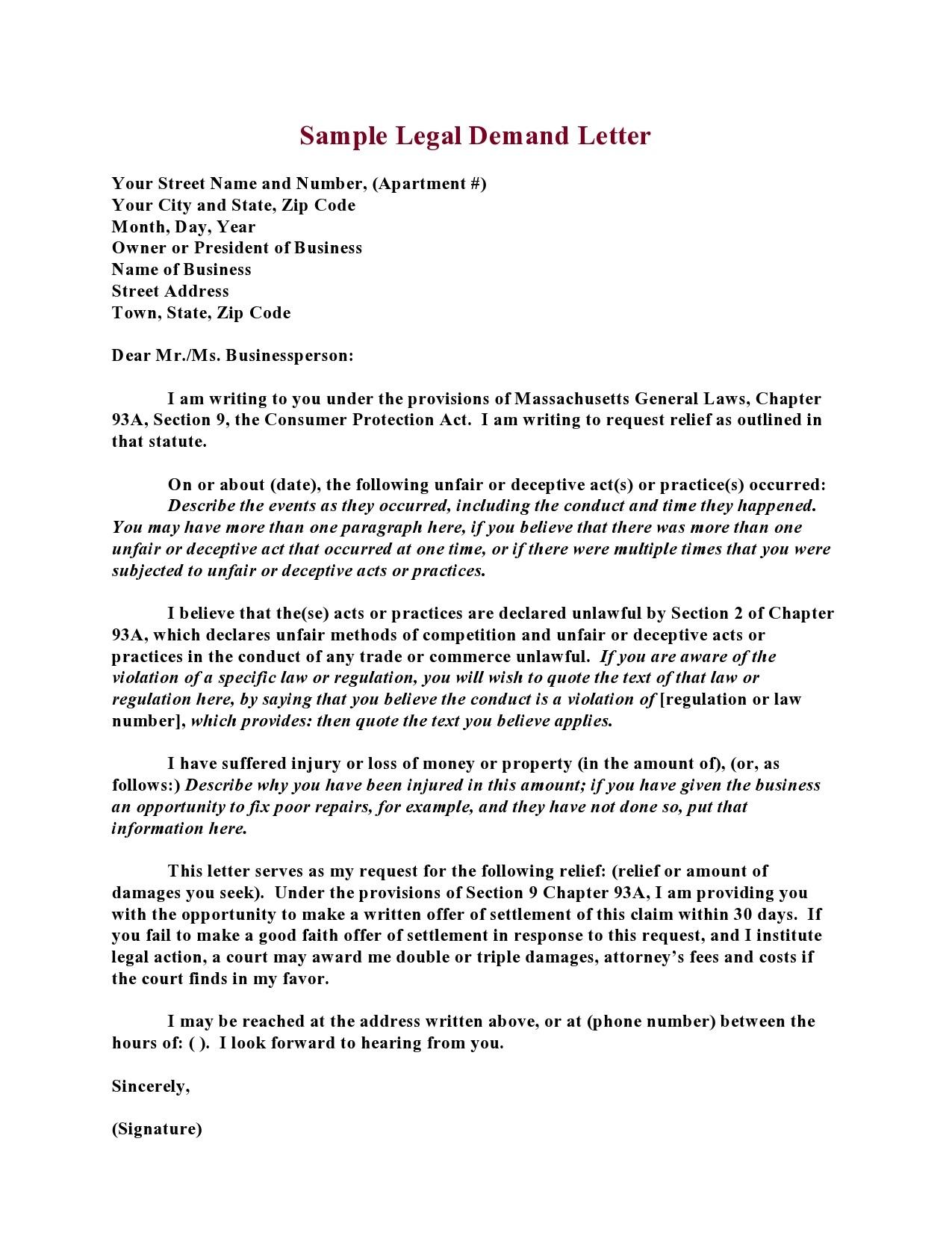 Free legal letter format 03