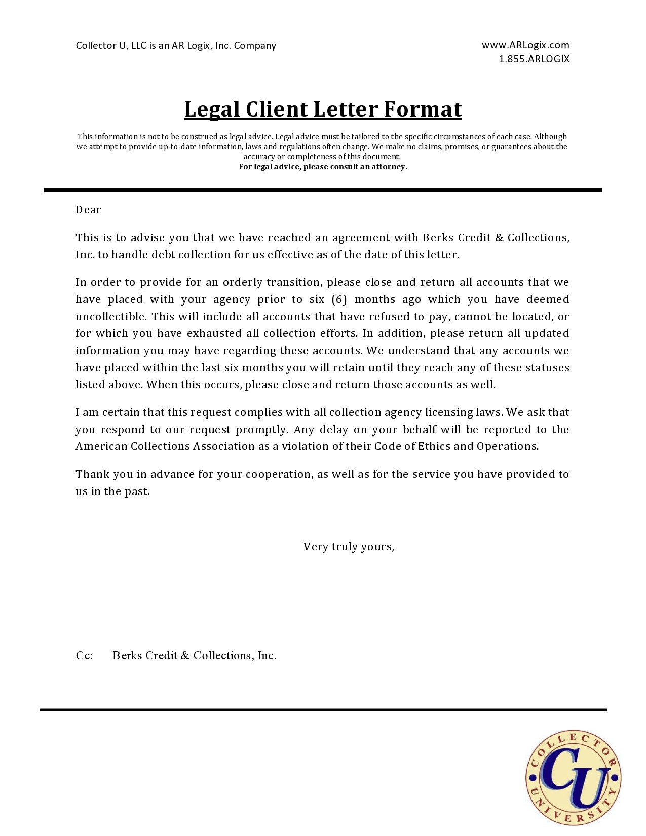 Free legal letter format 07