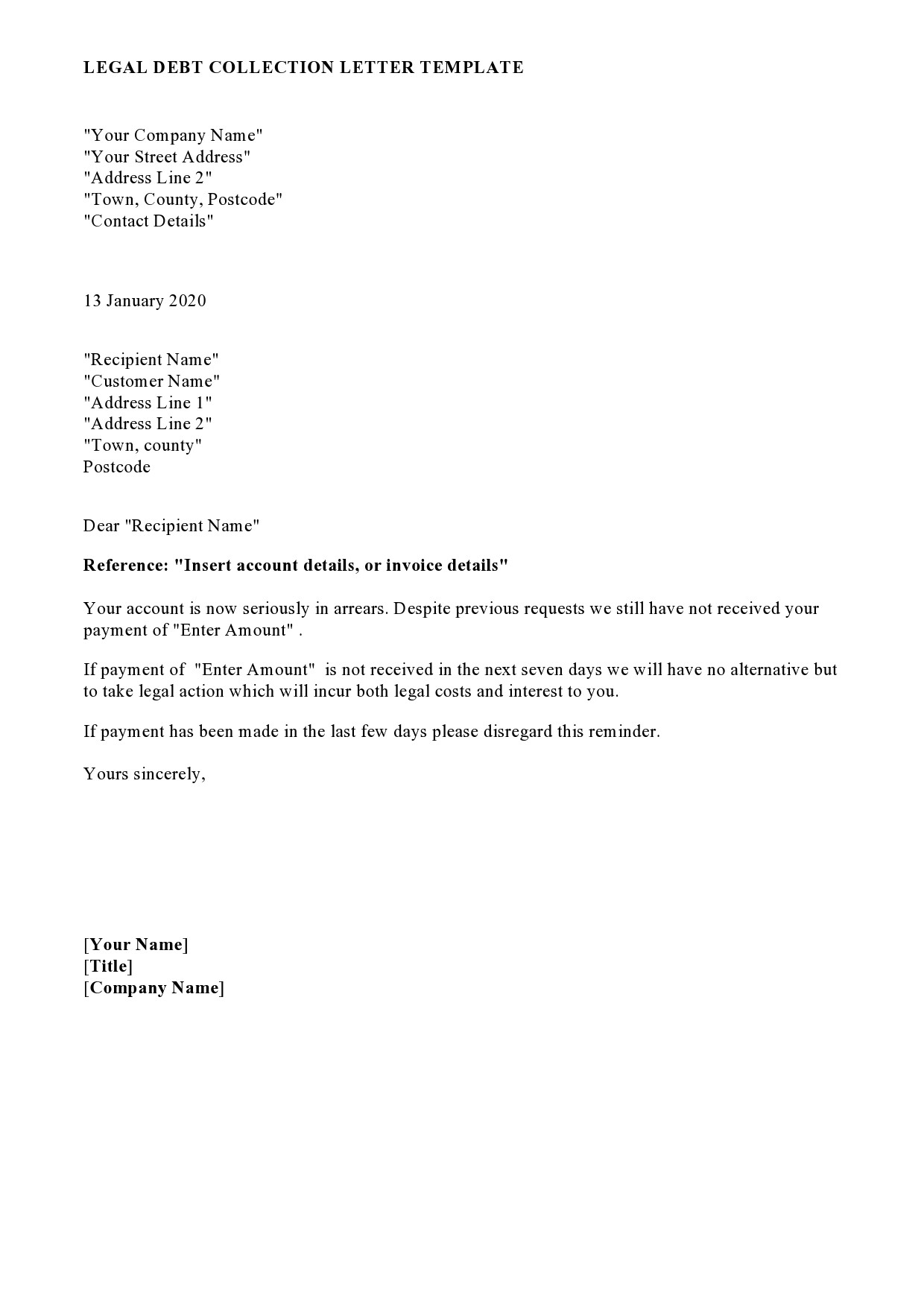Letter Of Intent To Take Legal Action from templatelab.com