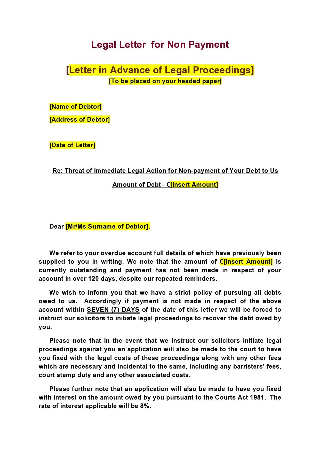 Free legal letter format 19