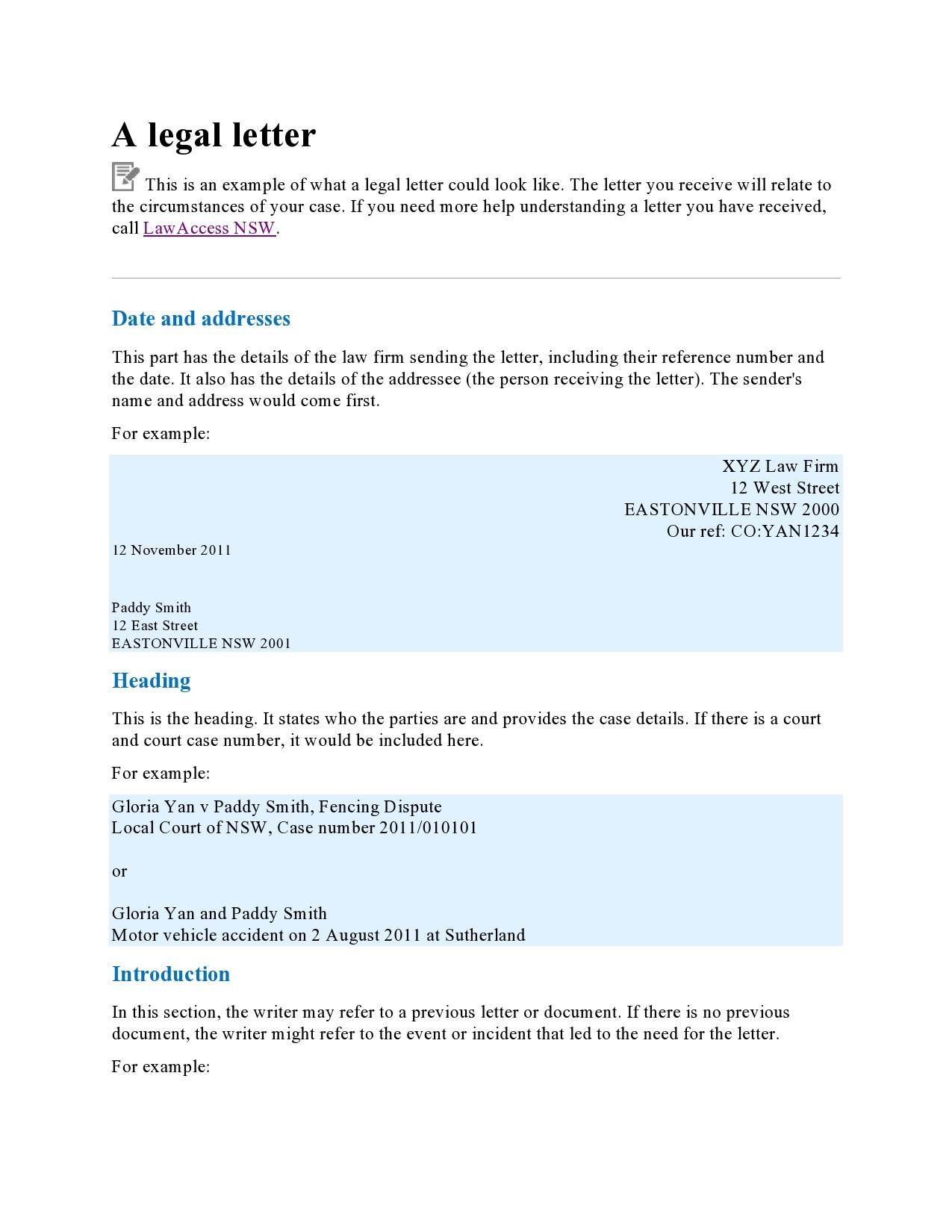 Free legal letter format 24