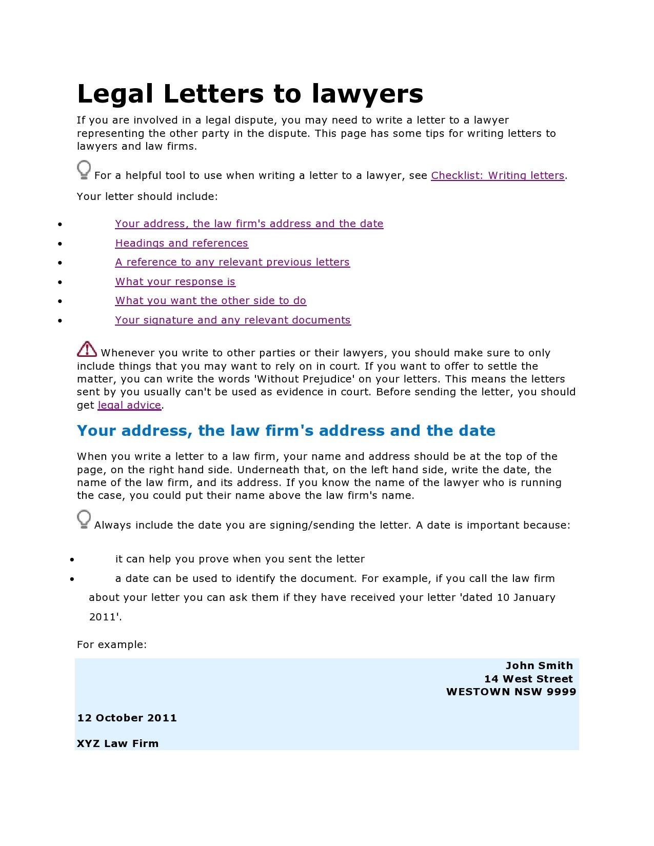 Free legal letter format 27