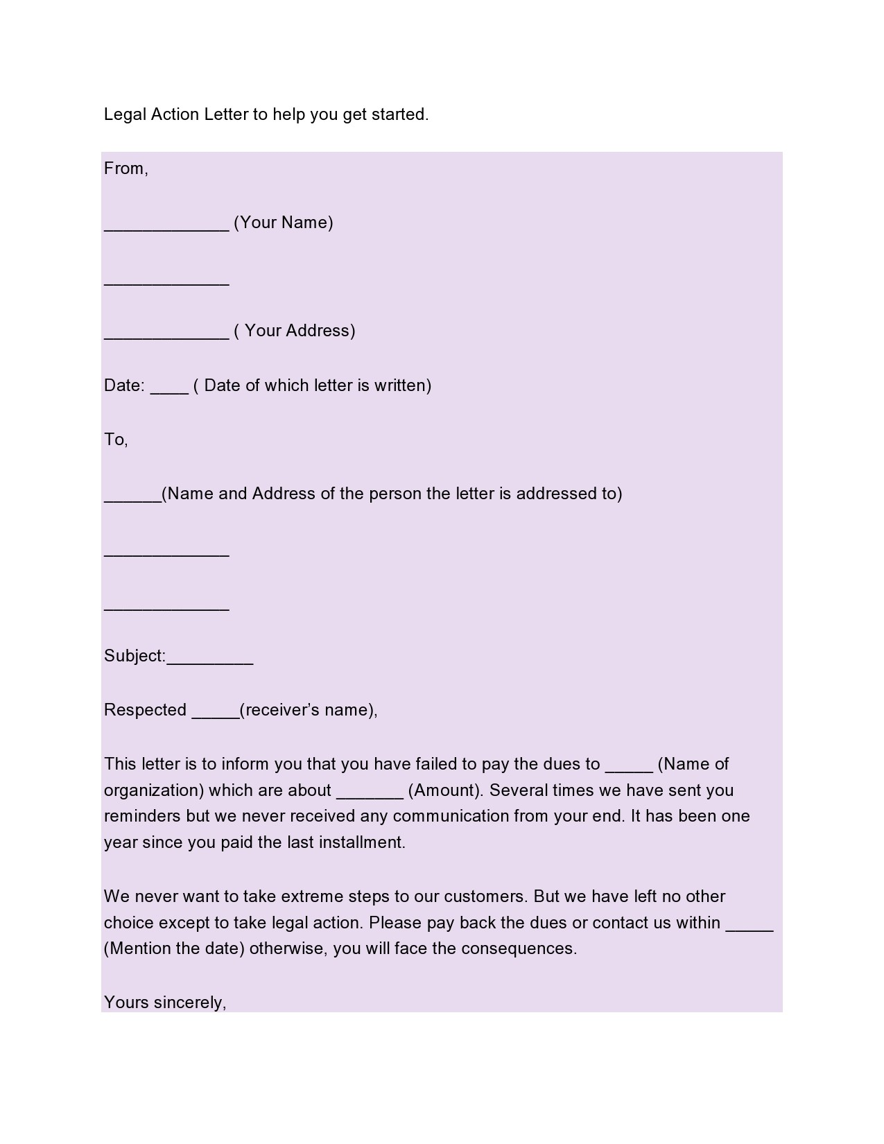 Free legal letter format 32